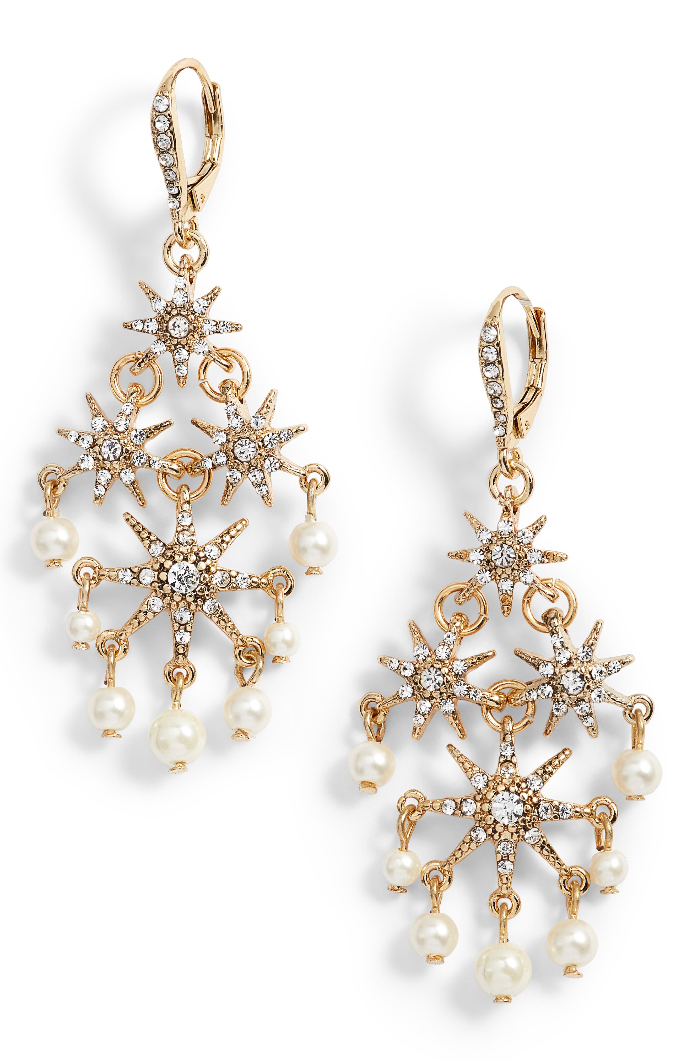 Star Chandelier Drop Earrings,                             Main thumbnail 1, color,                             Gold/ Cry/ Pearl