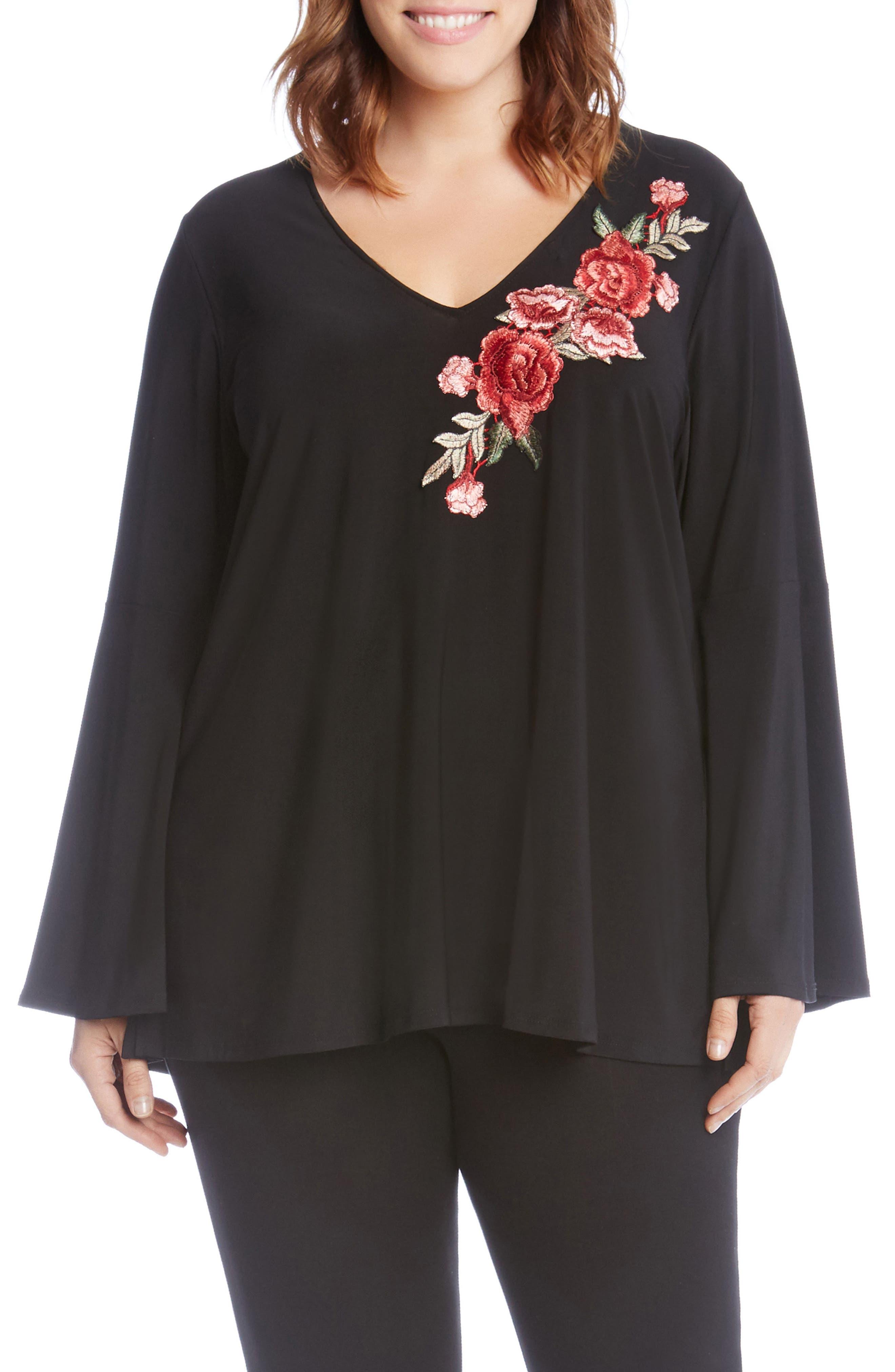 Rose Appliqué Swing Top,                         Main,                         color, Black