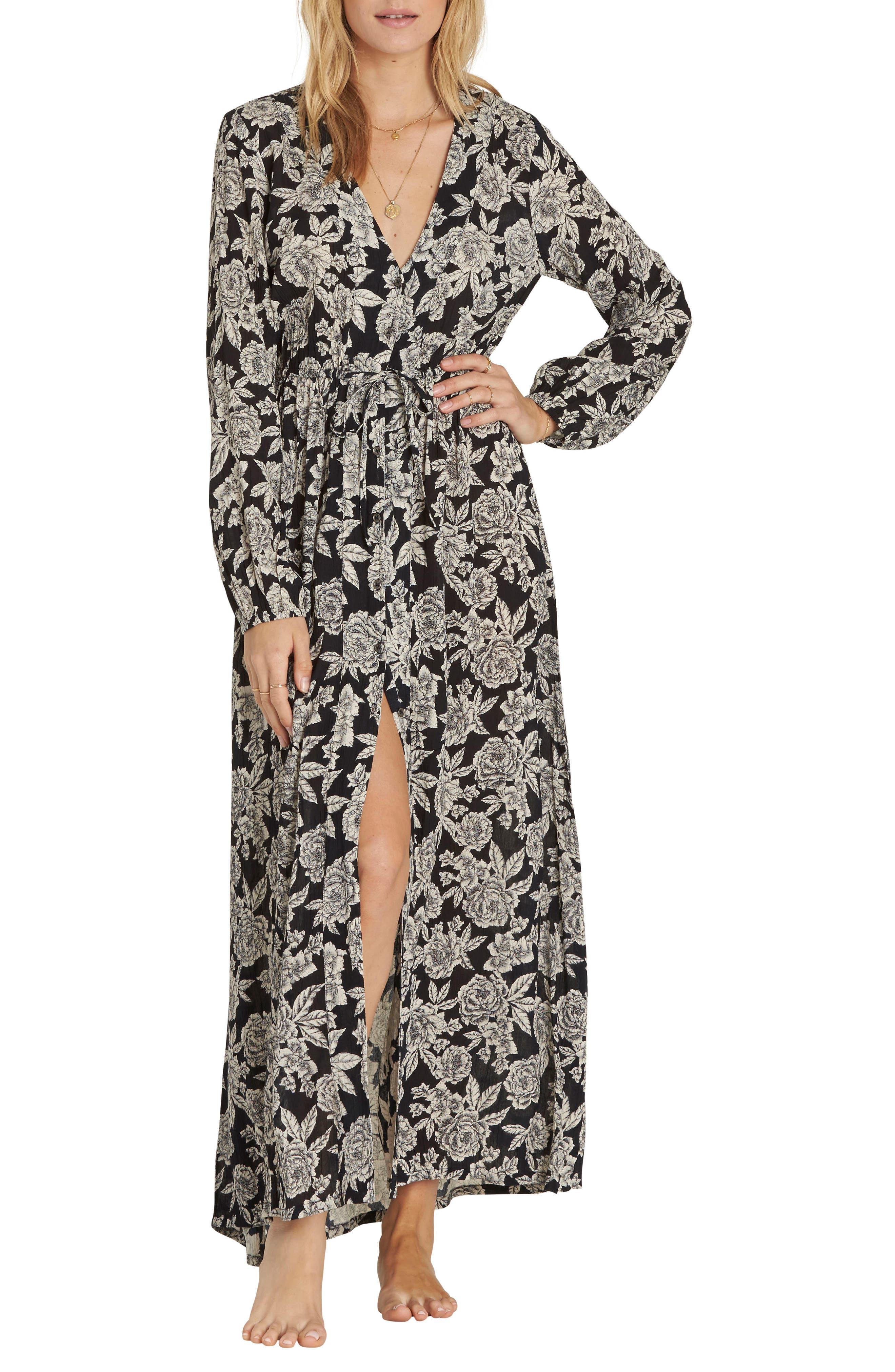 Allegra Kimono Dress,                         Main,                         color, Black/ White