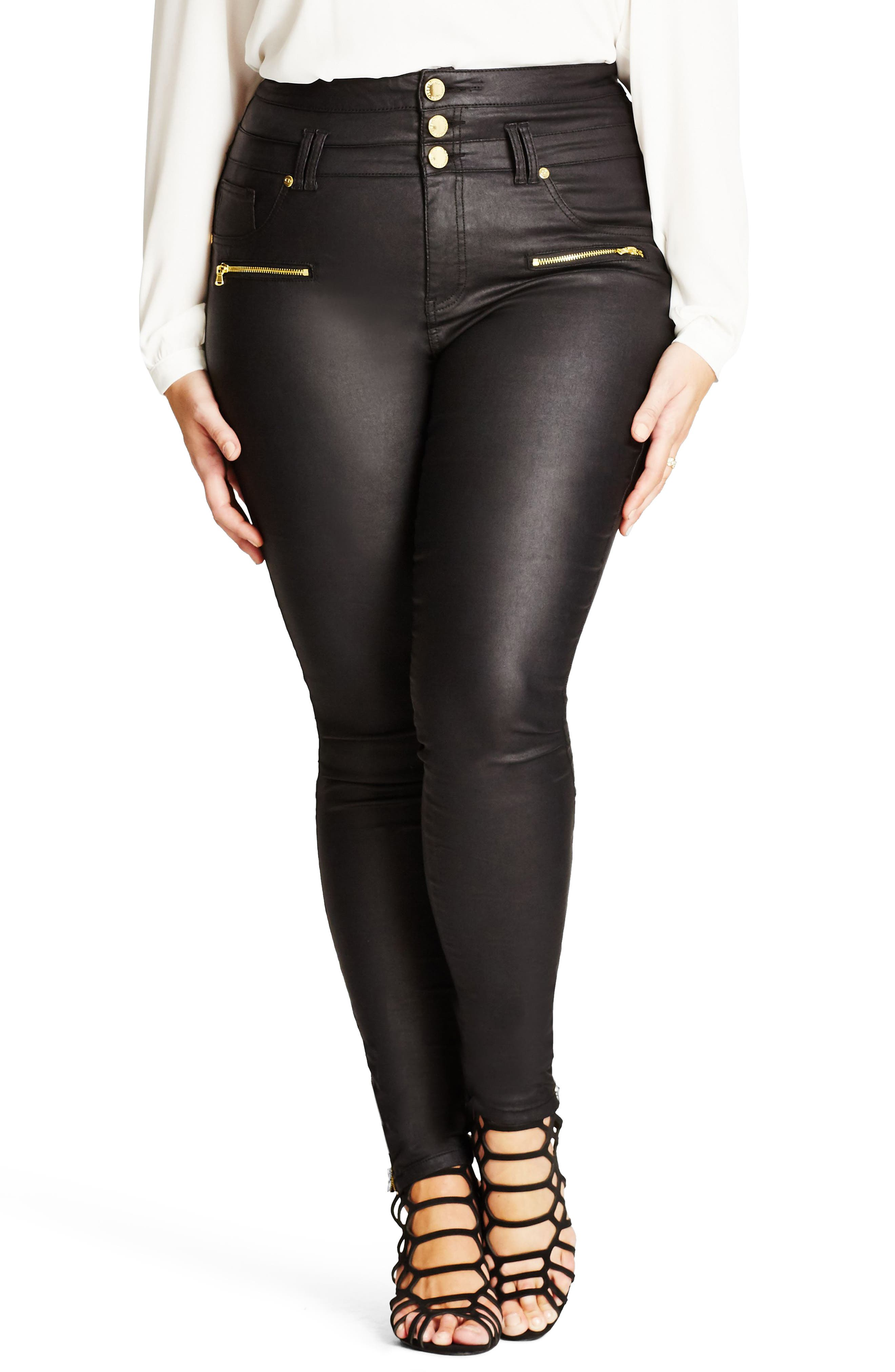 Skylar Coated Corset Skinny Jeans,                         Main,                         color, Black