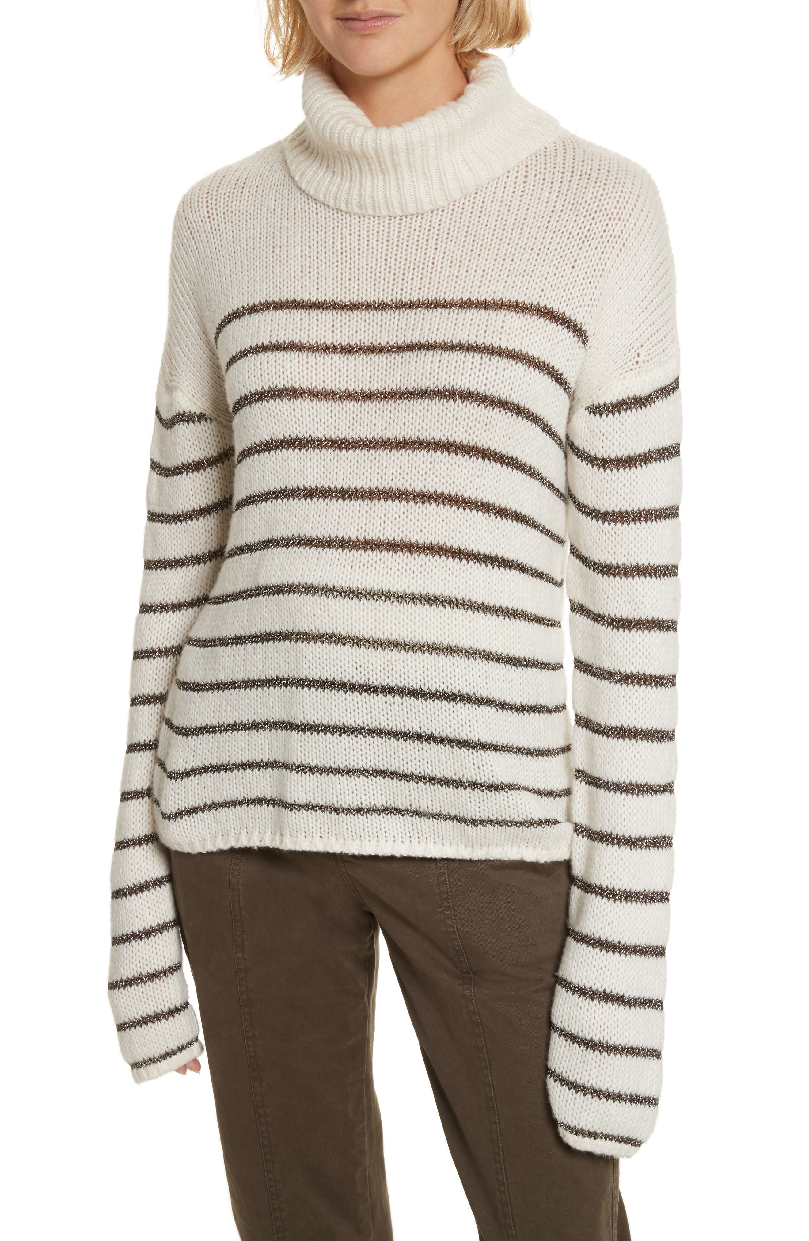 A.L.C. Elisa Metallic Stripe Turtleneck Sweater