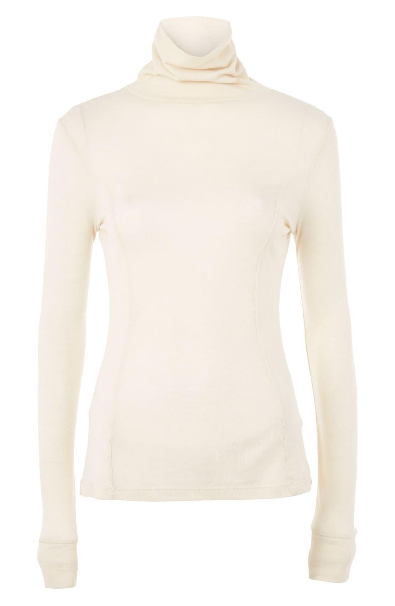 Wool Turtleneck Sweater,                         Main,                         color, Cream