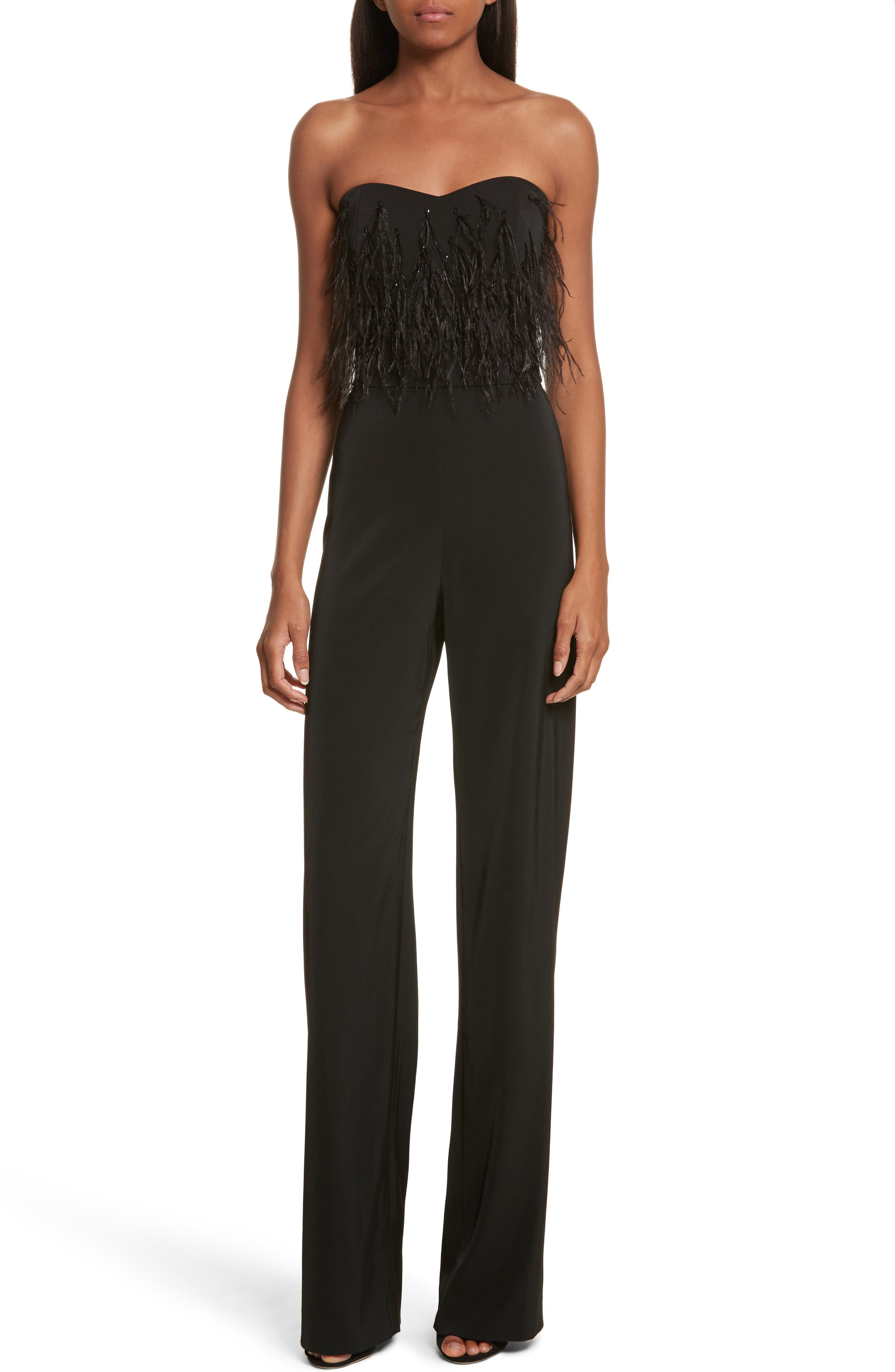 Faux Feather Trim Satin Backed Crepe Strapless Jumpsuit,                         Main,                         color, Black Feather