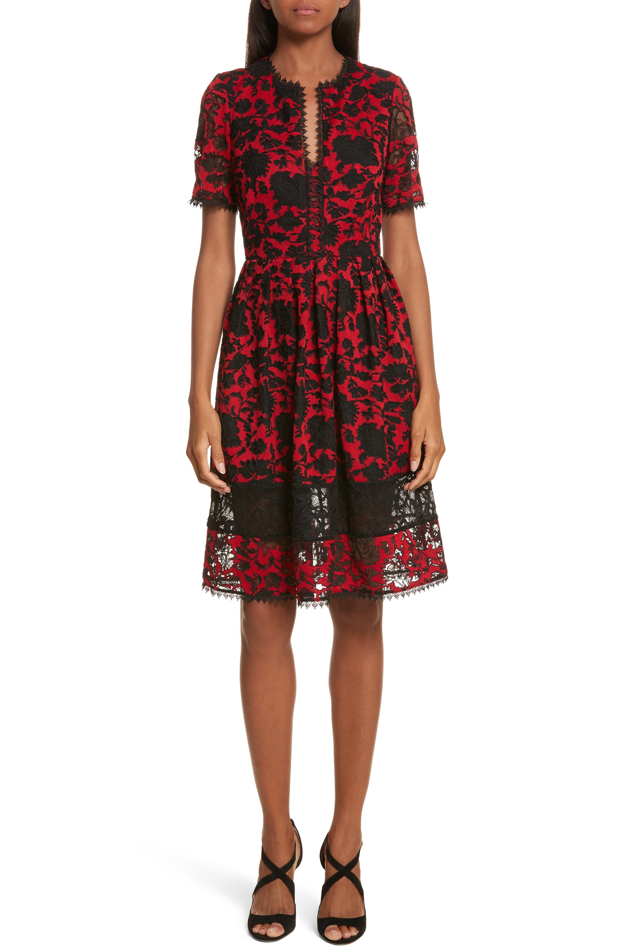 Embroidered Tulle Dress,                         Main,                         color, Red Abstract Flowers