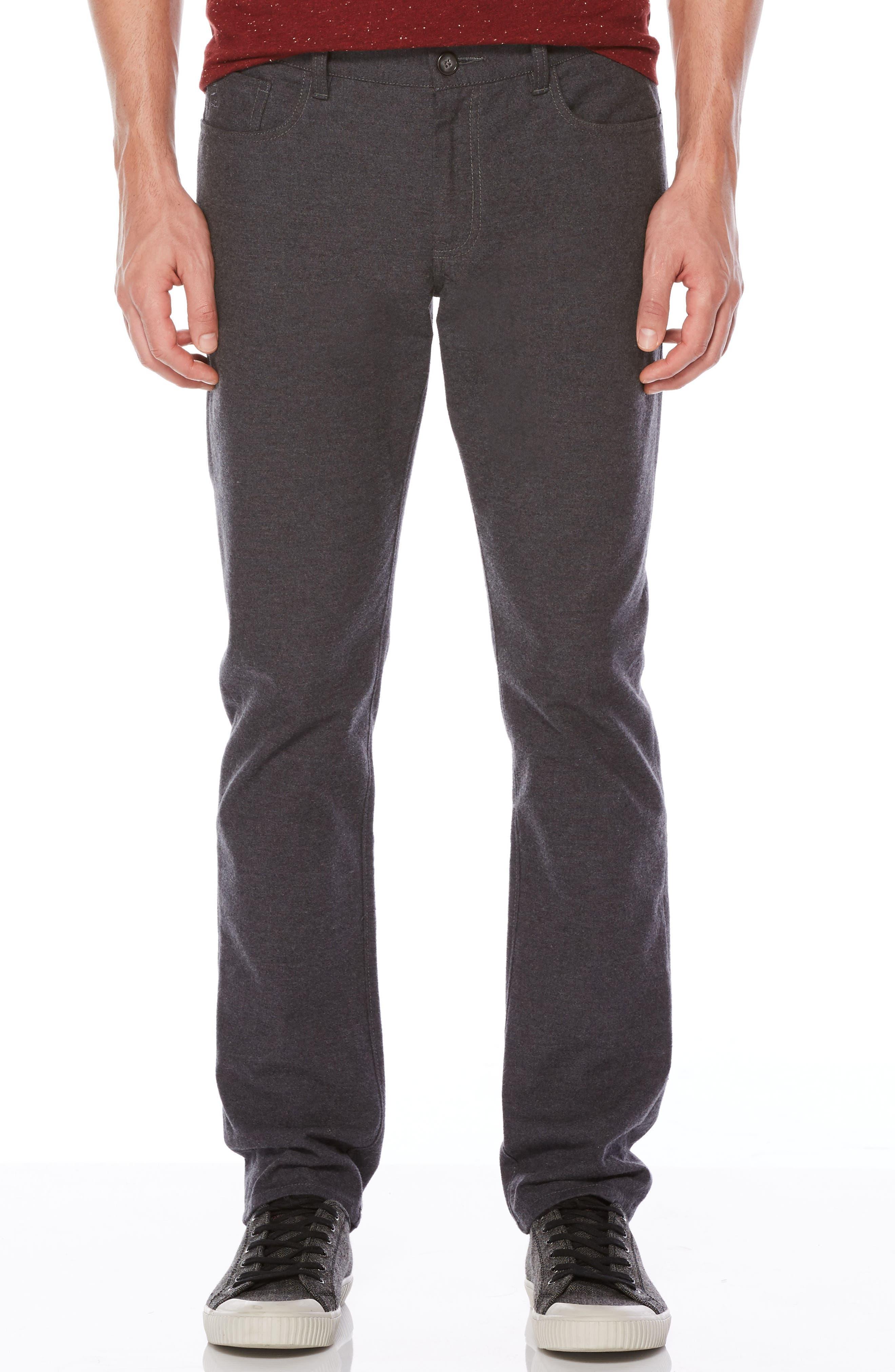 P55 Slim Fit Brushed Cotton Pants,                         Main,                         color, Castlerock