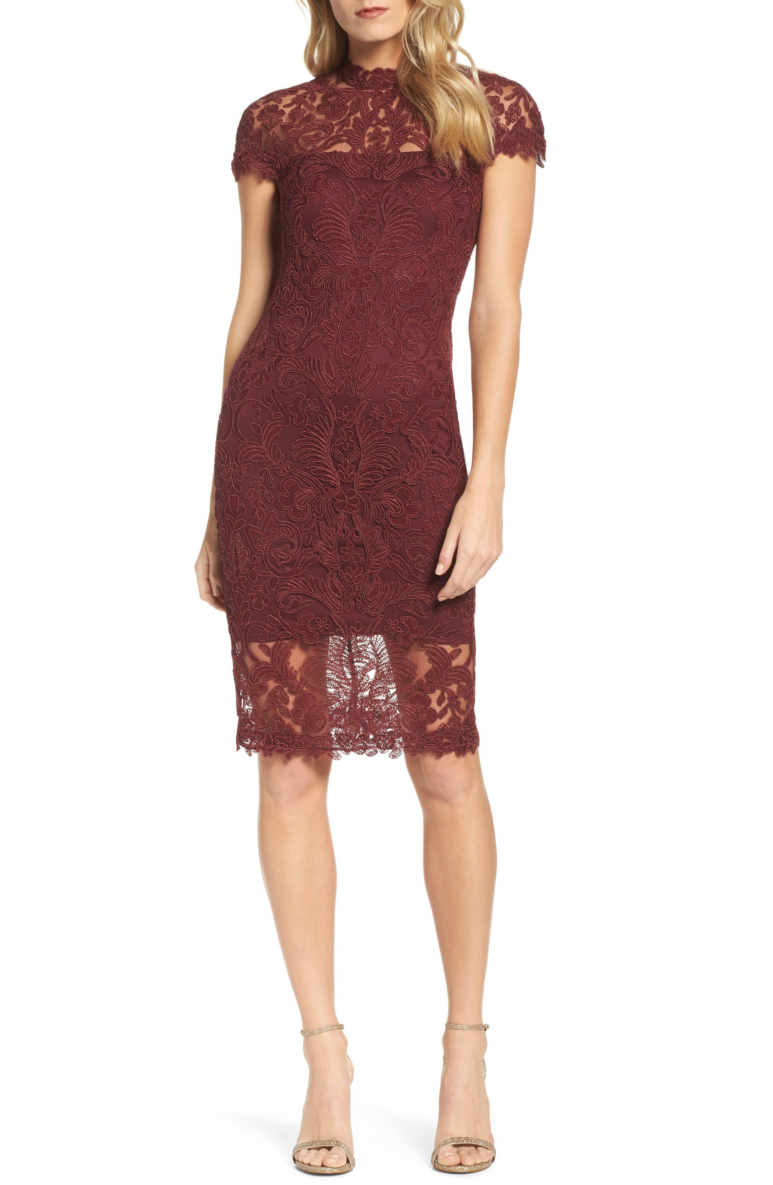 Mock Neck Corded Tulle Sheath Dress,                         Main,                         color, Auburn