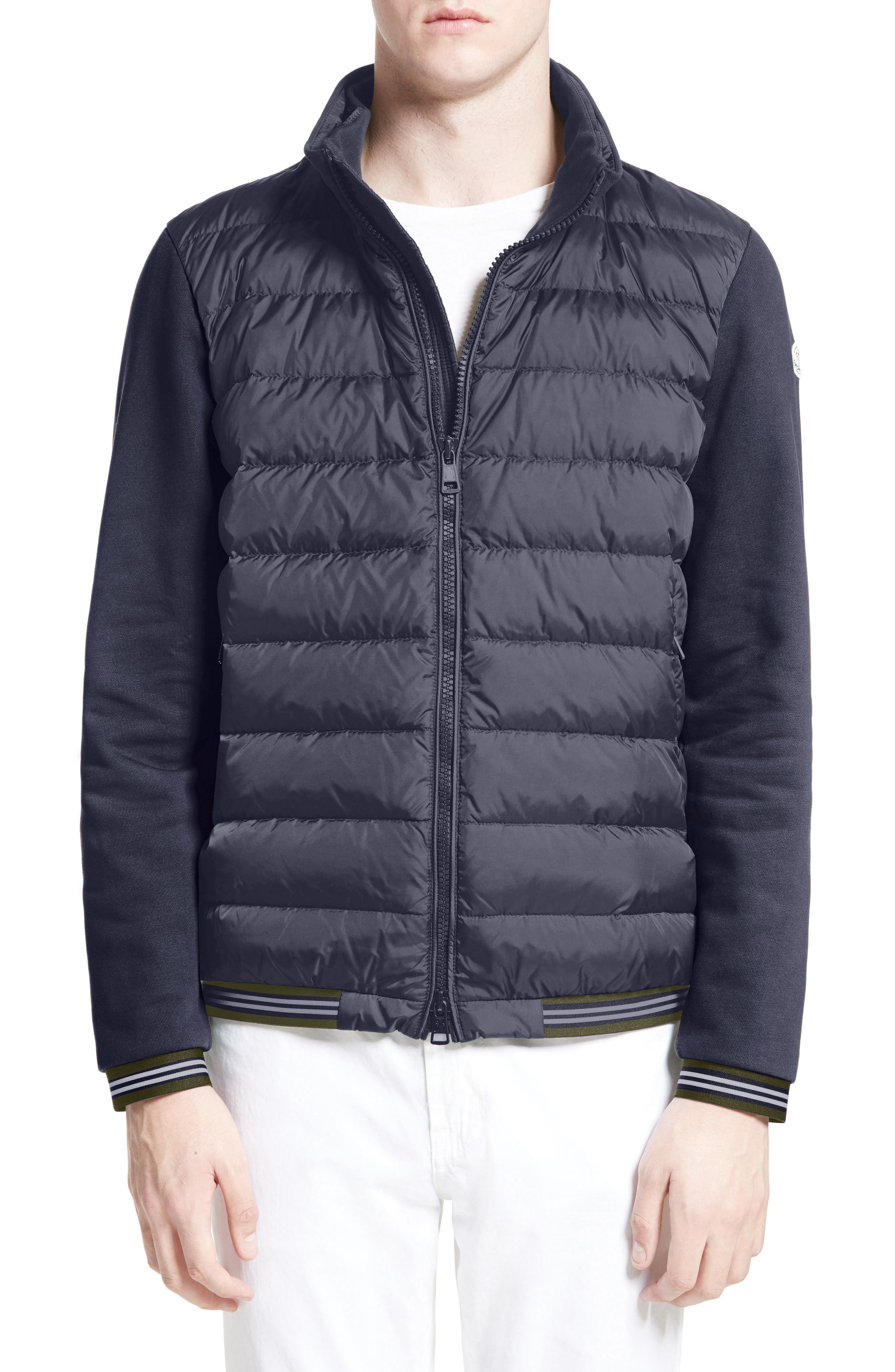 Alternate Image 3  - Moncler Maglia Quilted Front Jersey Hooded Jacket