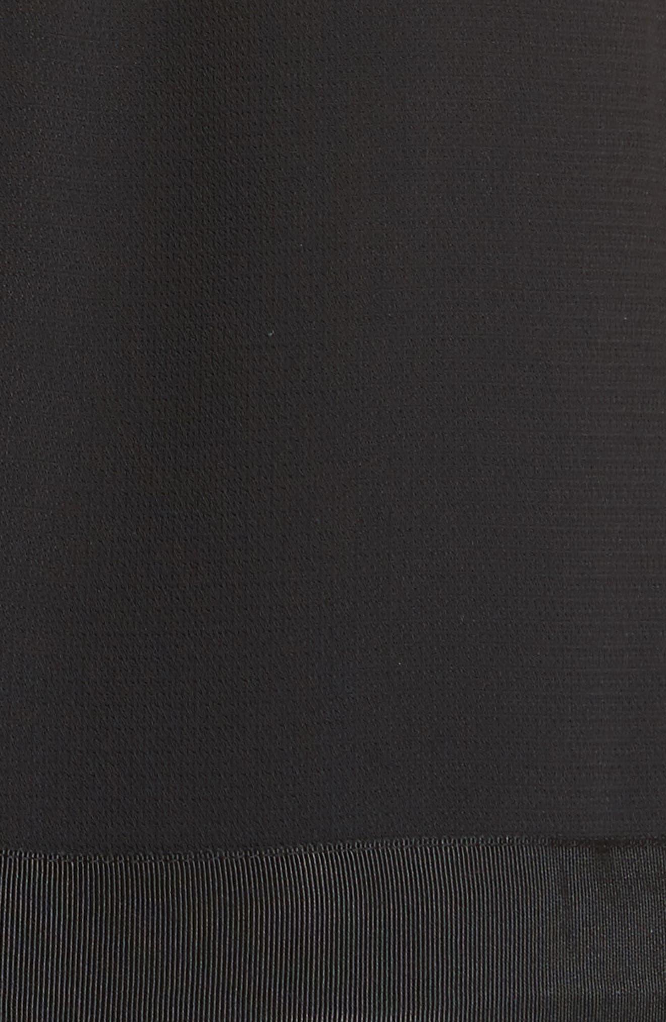 Crepe Pleated Hem Dress,                             Alternate thumbnail 6, color,                             Black
