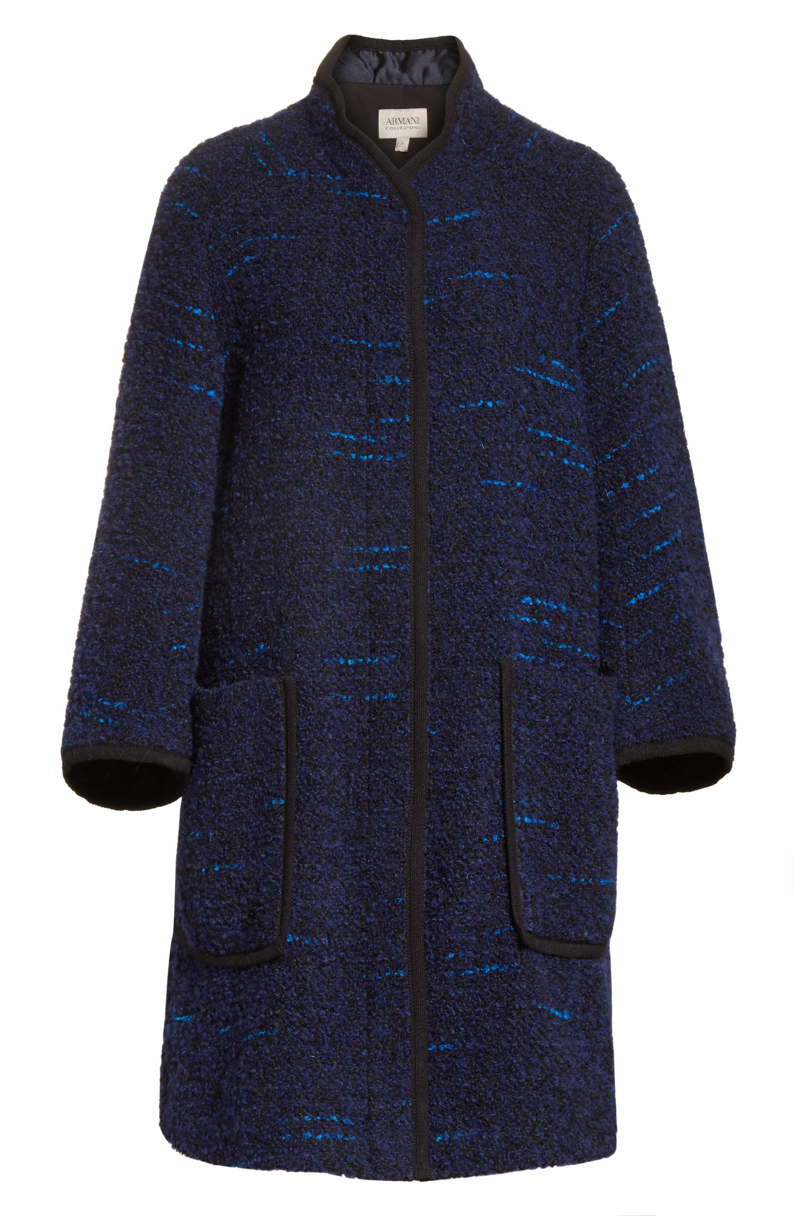 Wool Blend Swing Coat,                             Alternate thumbnail 8, color,                             Navy / Blue Multi
