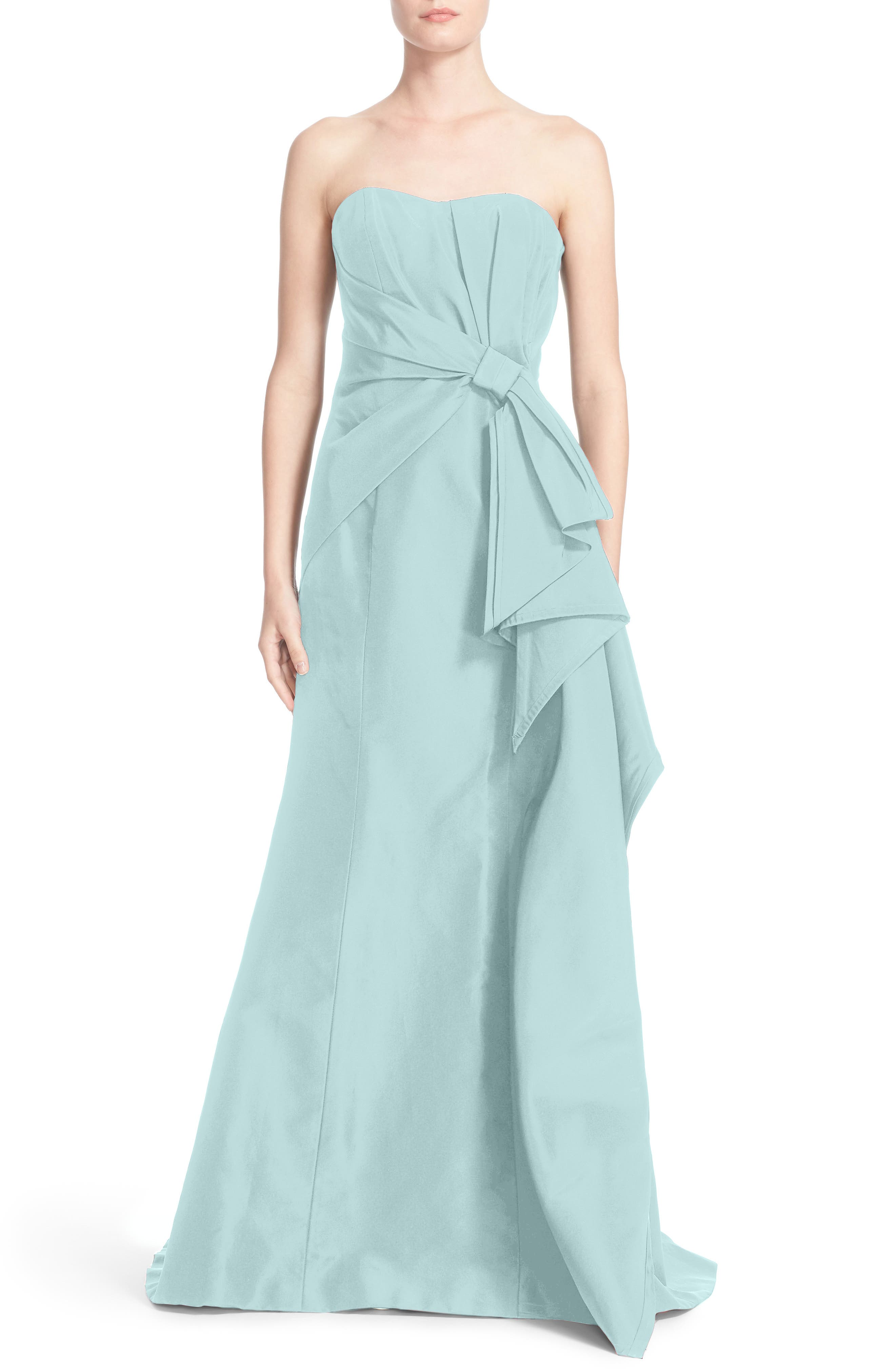 Bow Detail Strapless Silk Faille Gown,                         Main,                         color, Stone Blue