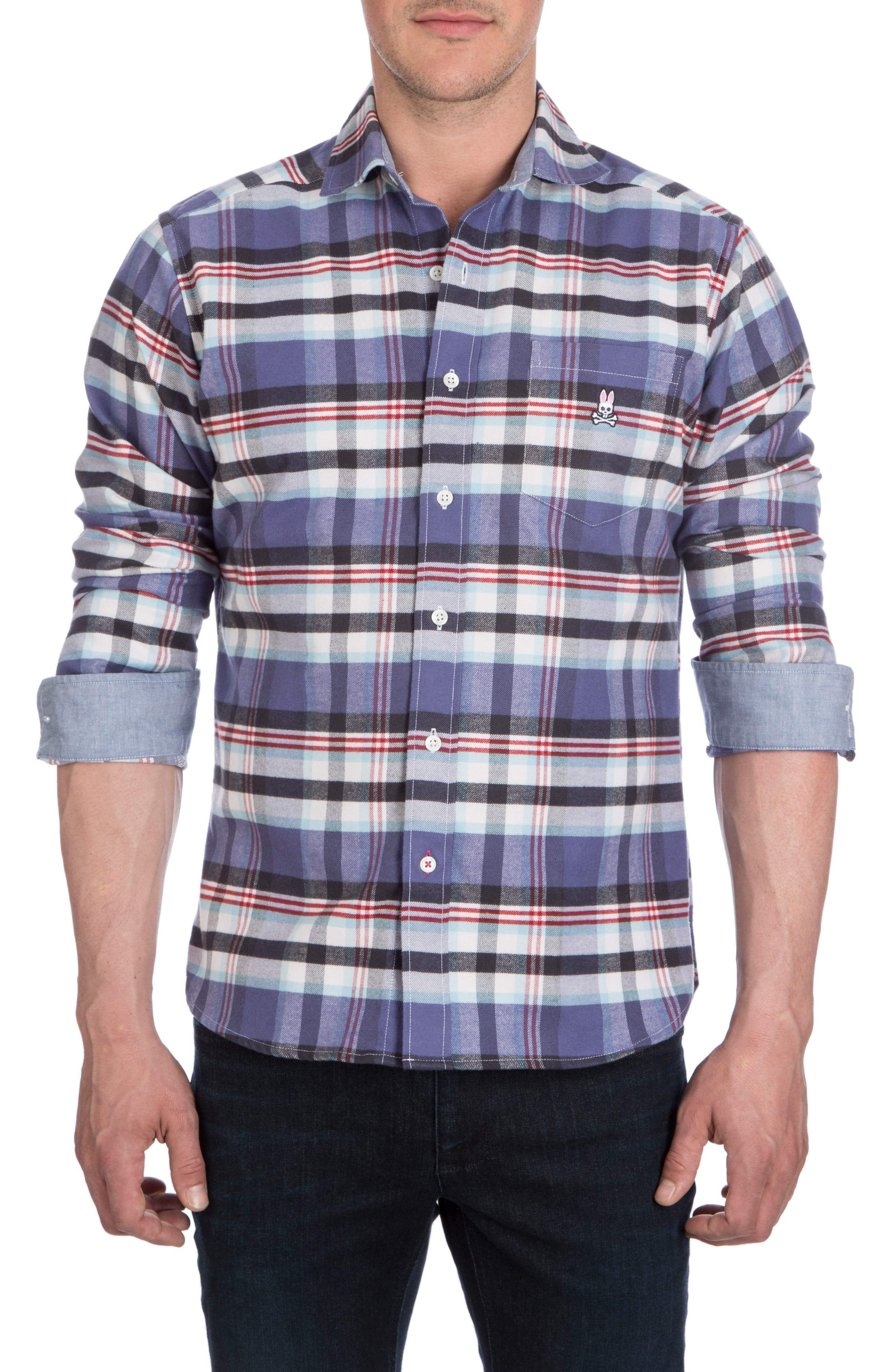 Flannel Sport Shirt,                             Alternate thumbnail 4, color,                             Fig