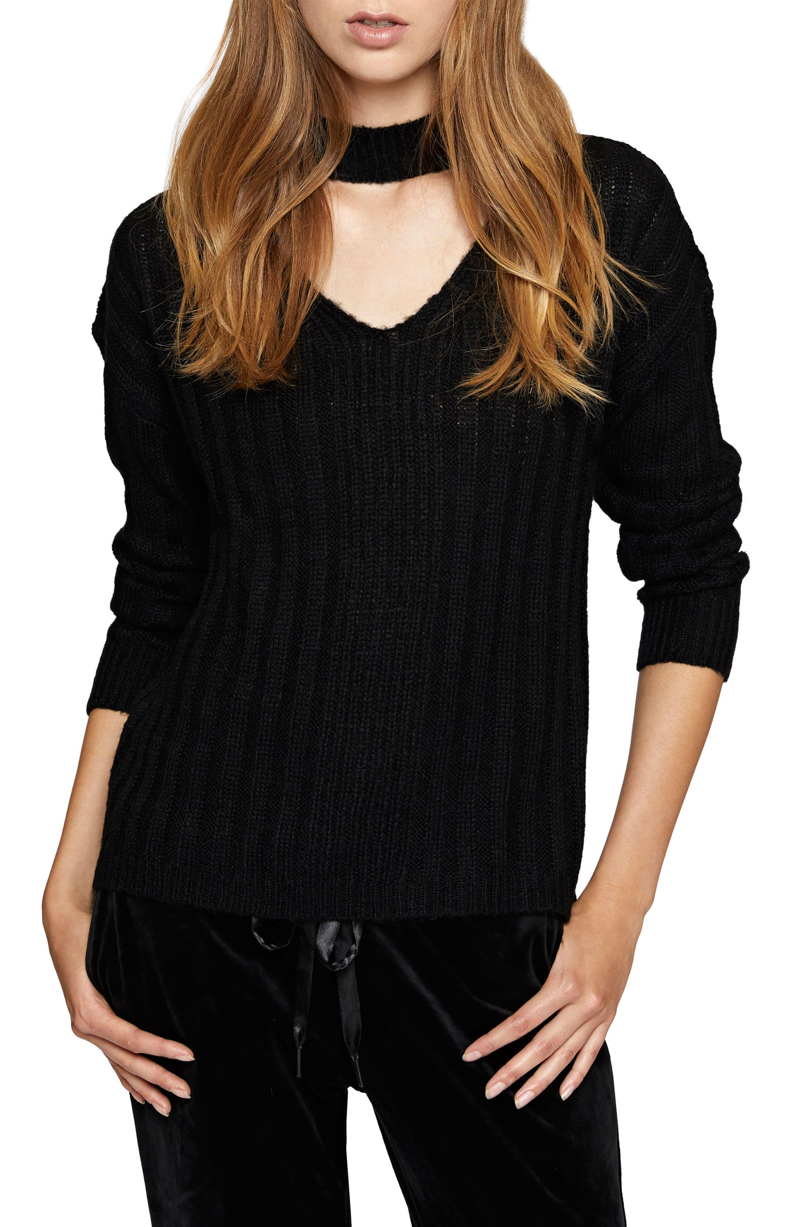 Sharon Choker Sweater,                             Main thumbnail 1, color,                             Black