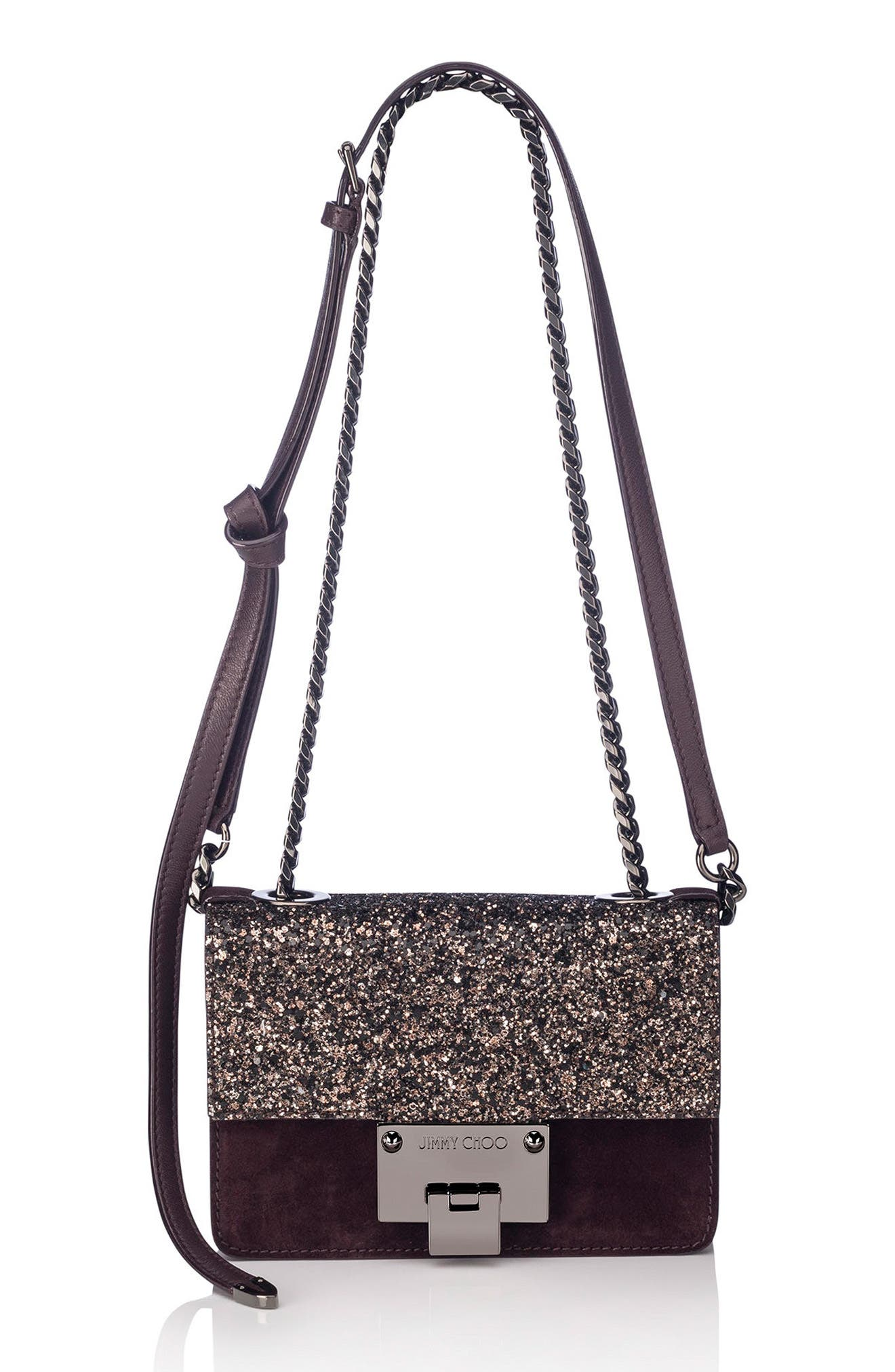 Mini Rebel Glitter Flap Leather Crossbody Bag,                             Main thumbnail 1, color,                             Burgundy/ Bronze Mix