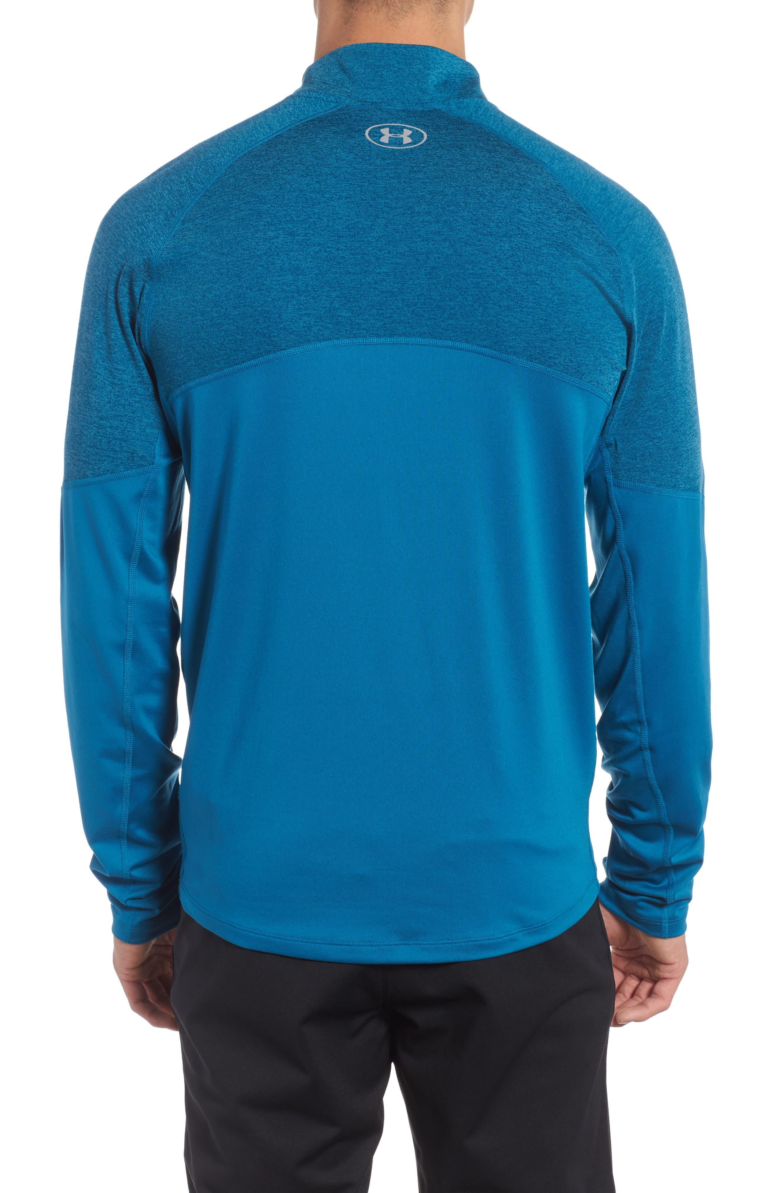 Threadborne Quarter Zip Performance T-Shirt,                             Alternate thumbnail 2, color,                             Bayou Blue / Reflective