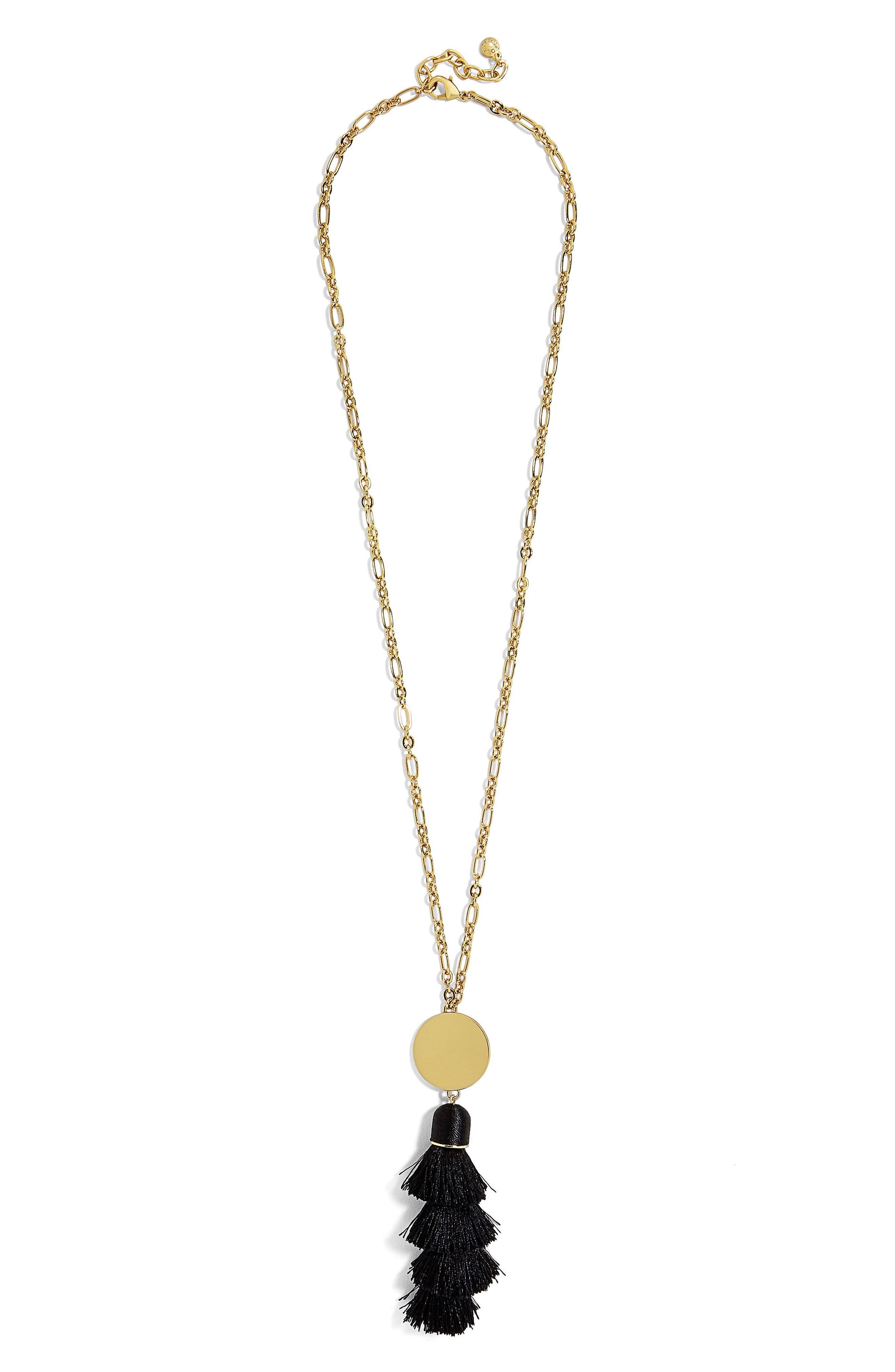 Tahira Tassel Necklace,                         Main,                         color, Black