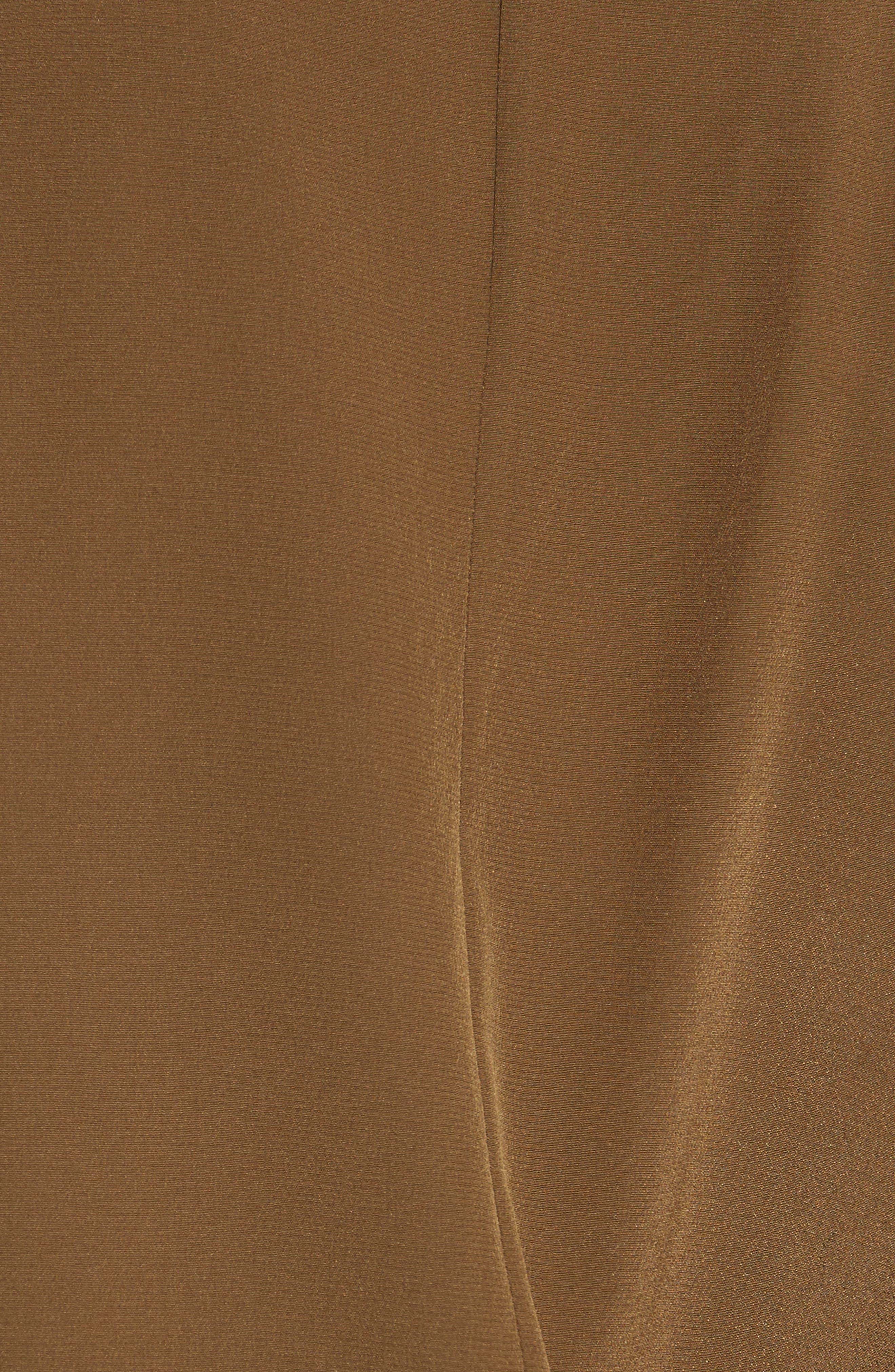 Cold Shoulder Silk Top,                             Alternate thumbnail 5, color,                             Olive
