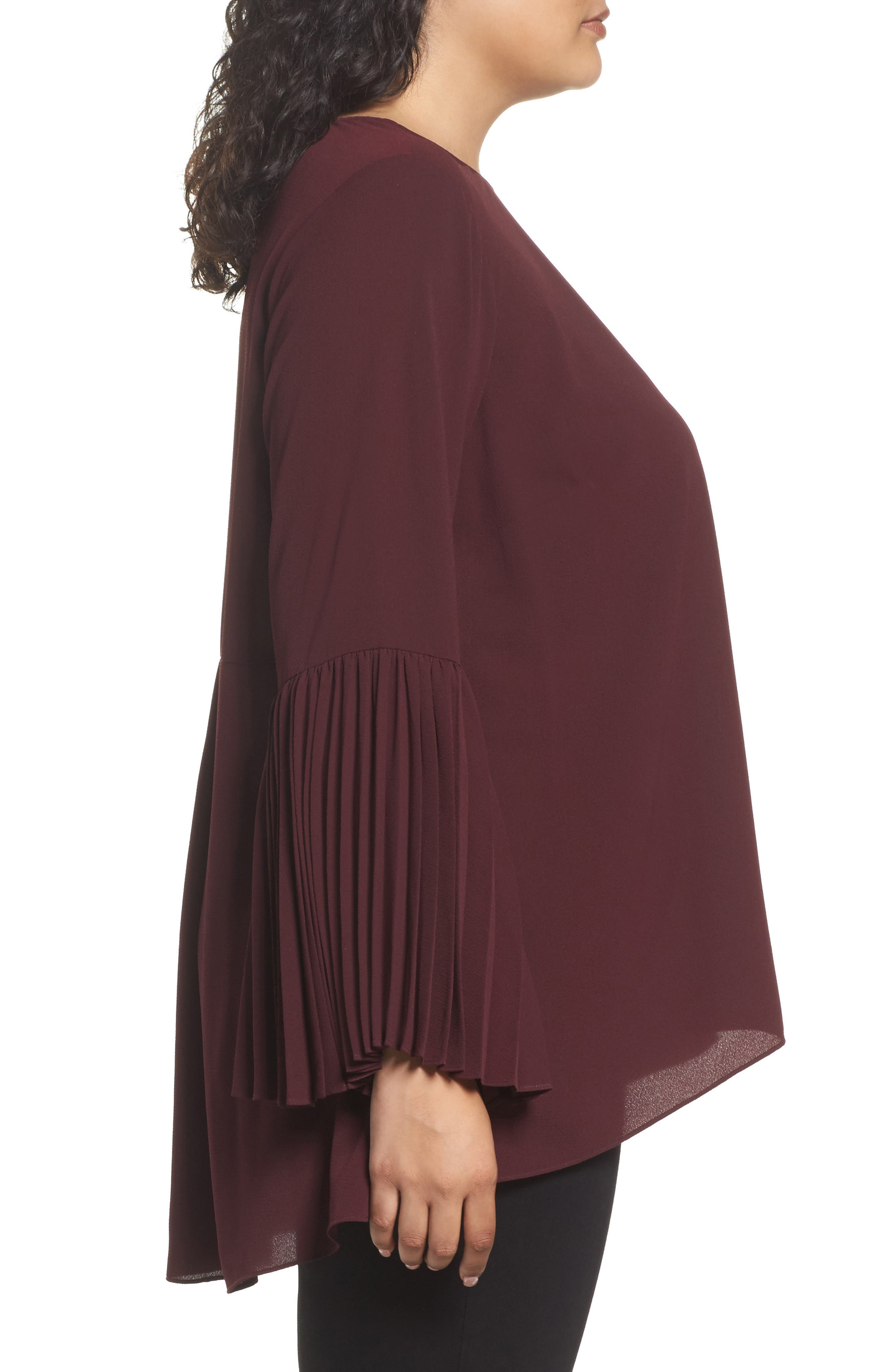 Pleated Bell Sleeve High/Low Shirt,                             Alternate thumbnail 3, color,                             Deep Claret