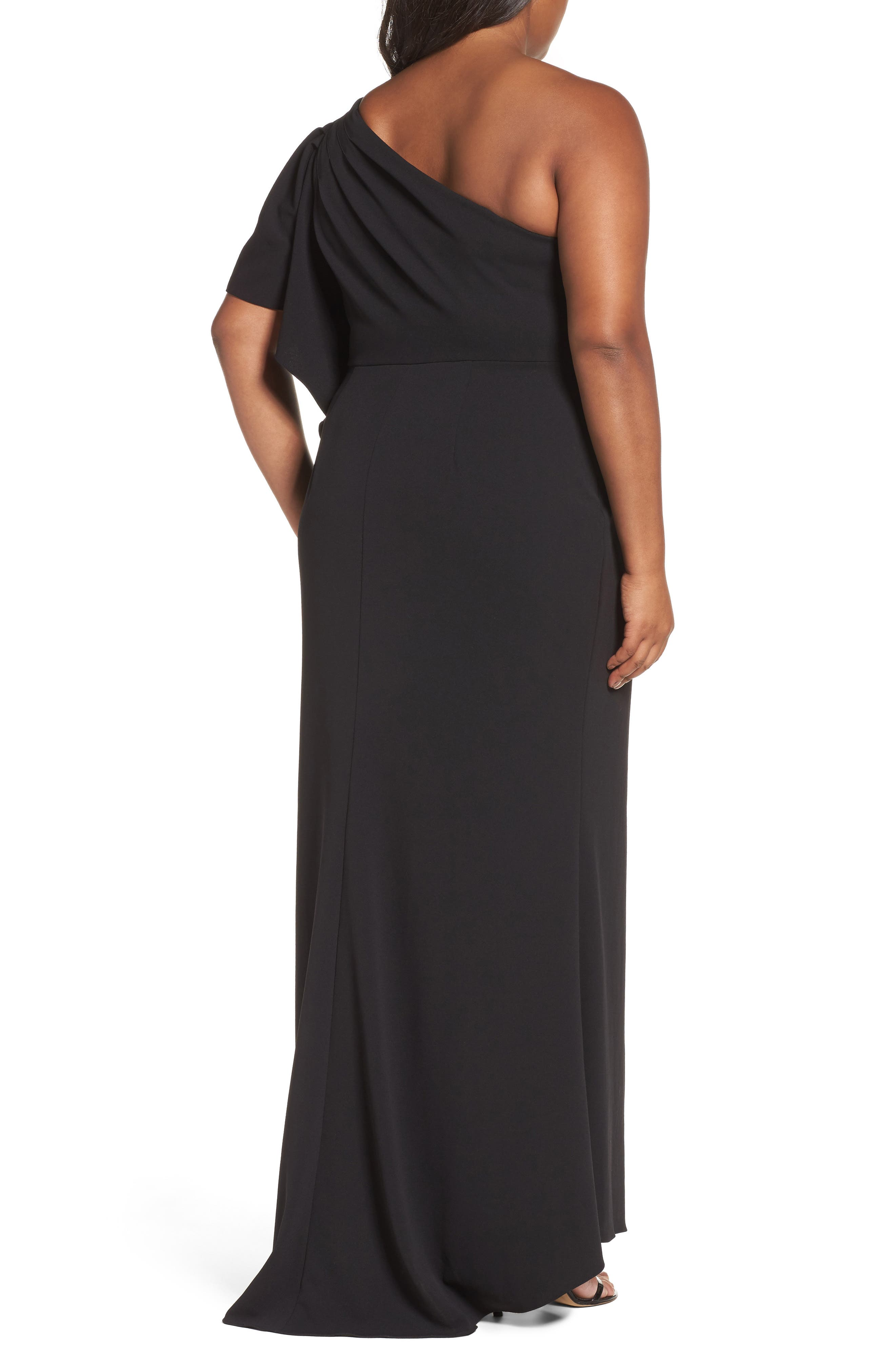 Alternate Image 2  - Adrianna Papell Crepe One-Shoulder Gown (Plus Size)