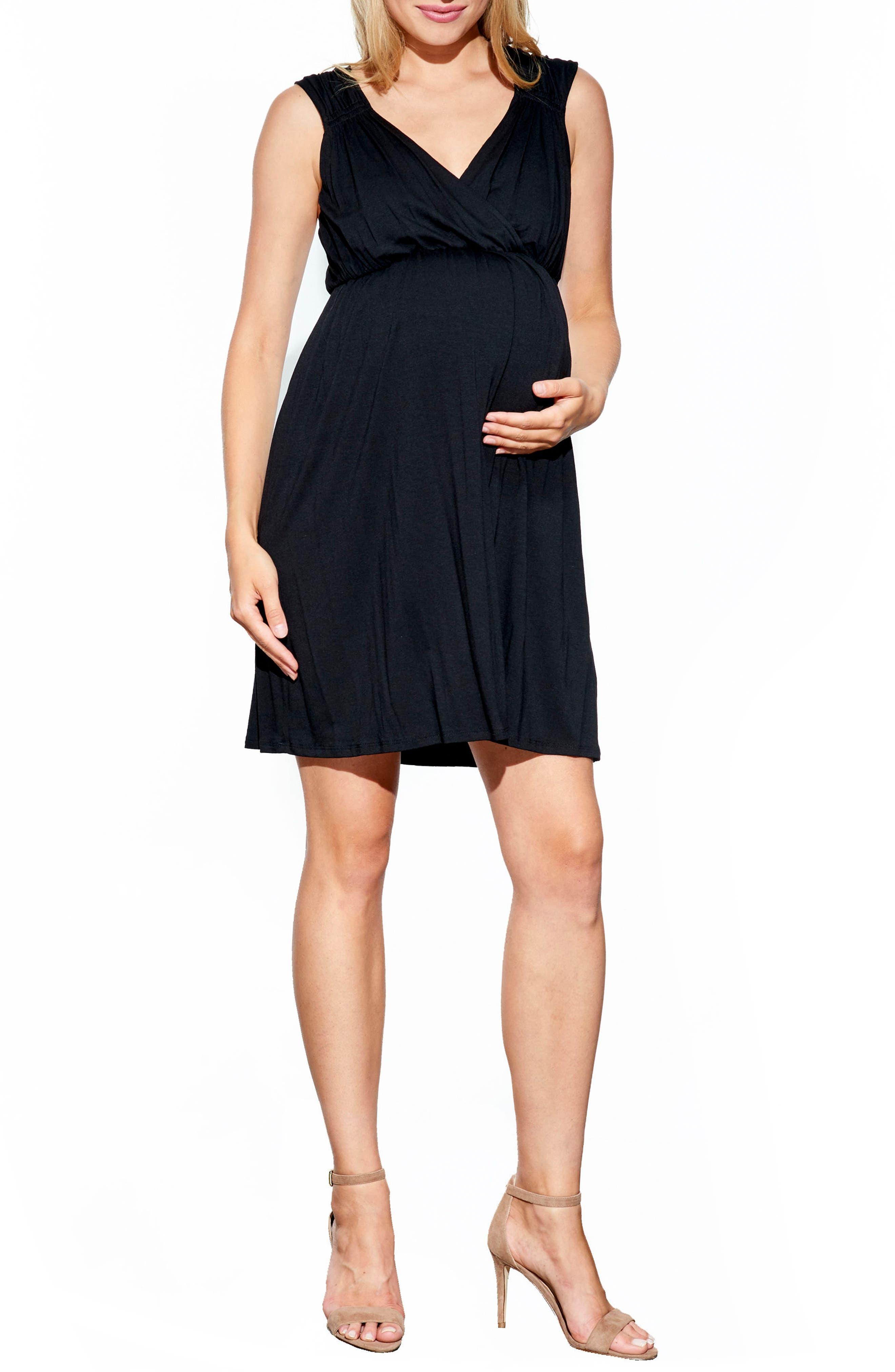 'Vanessa' Maternity Dress,                         Main,                         color, Black
