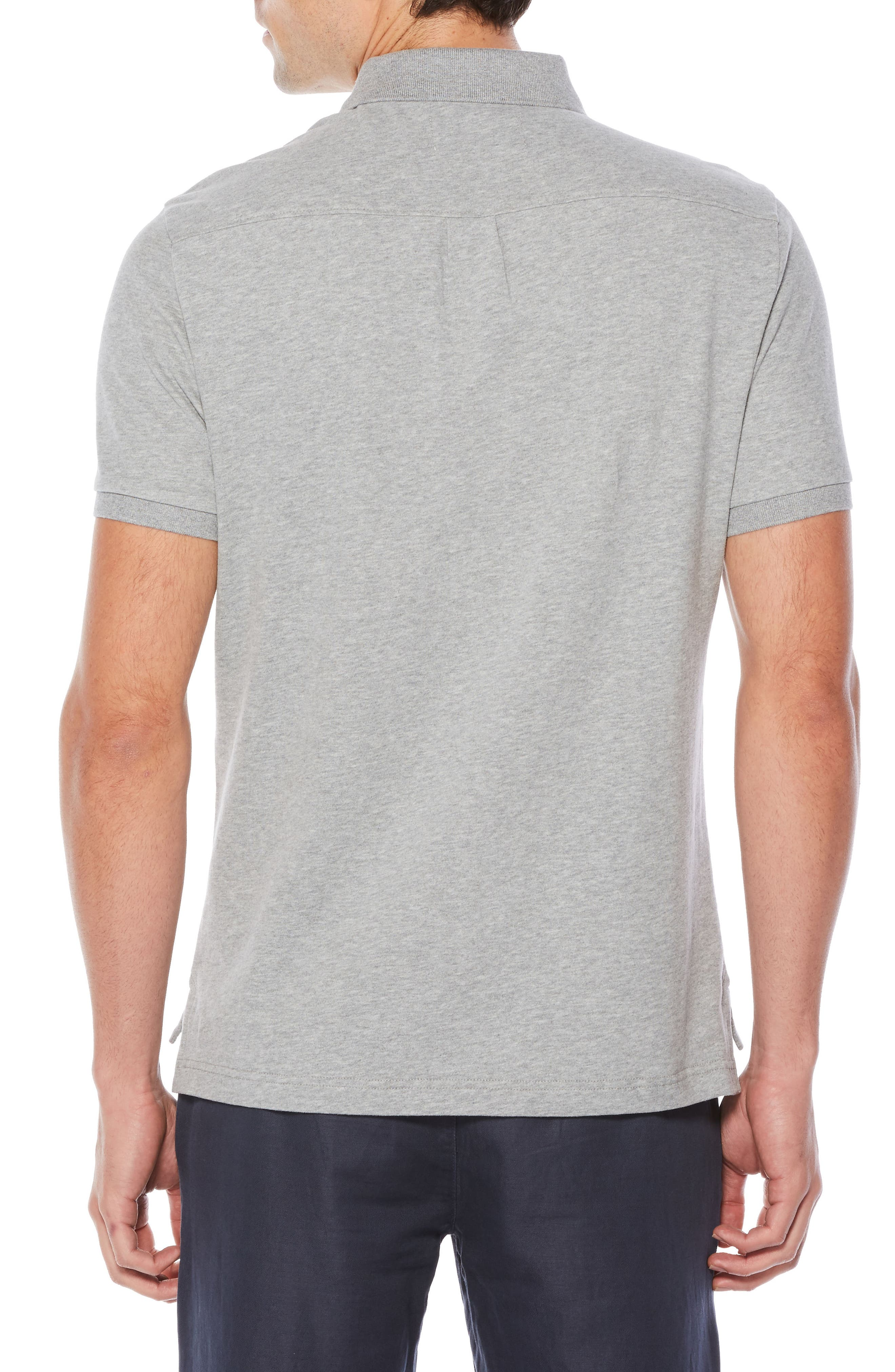 Pieced Polo,                             Alternate thumbnail 2, color,                             Athletic Grey Heather
