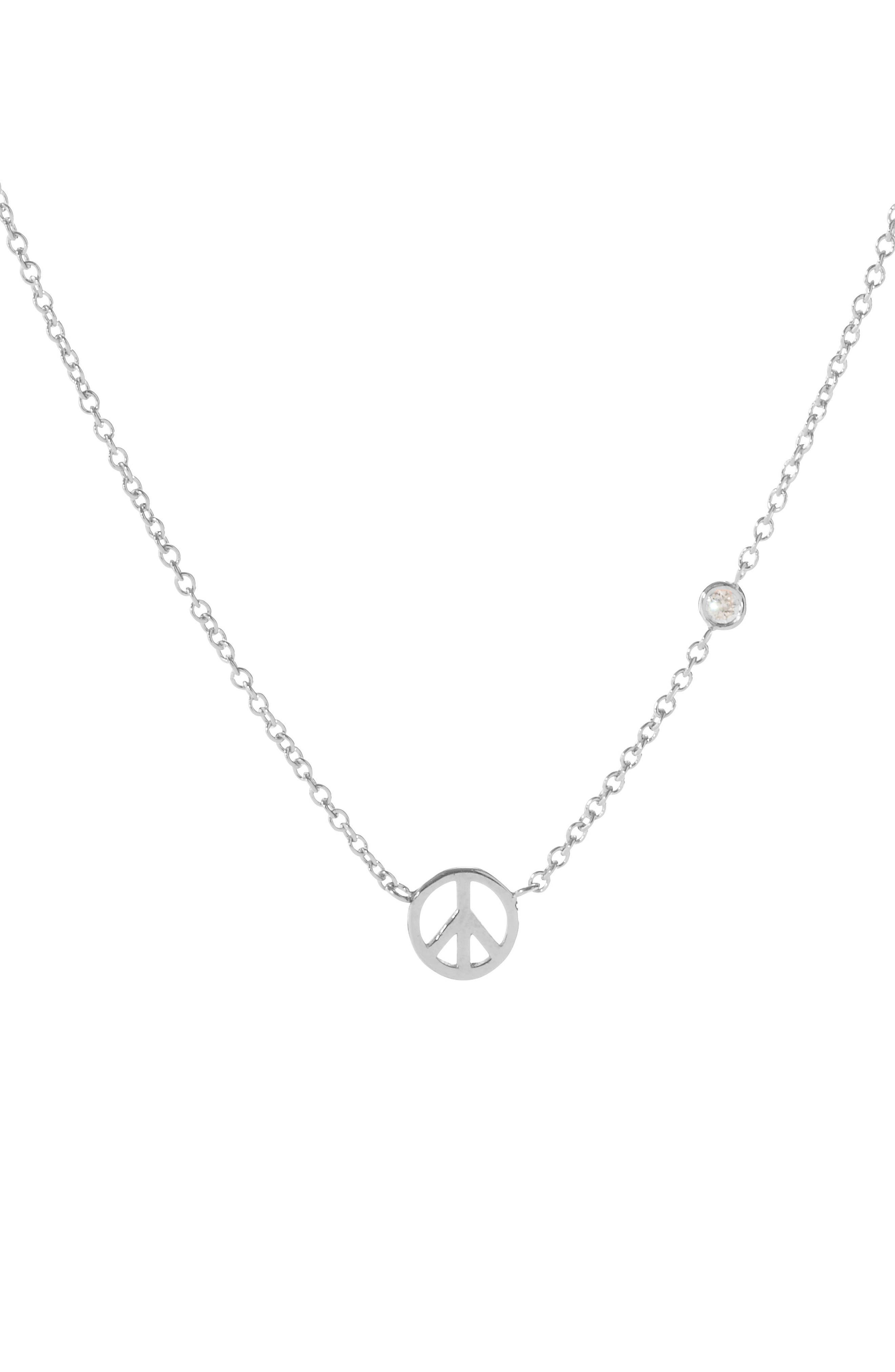 Peace Sign Necklace,                         Main,                         color, Silver
