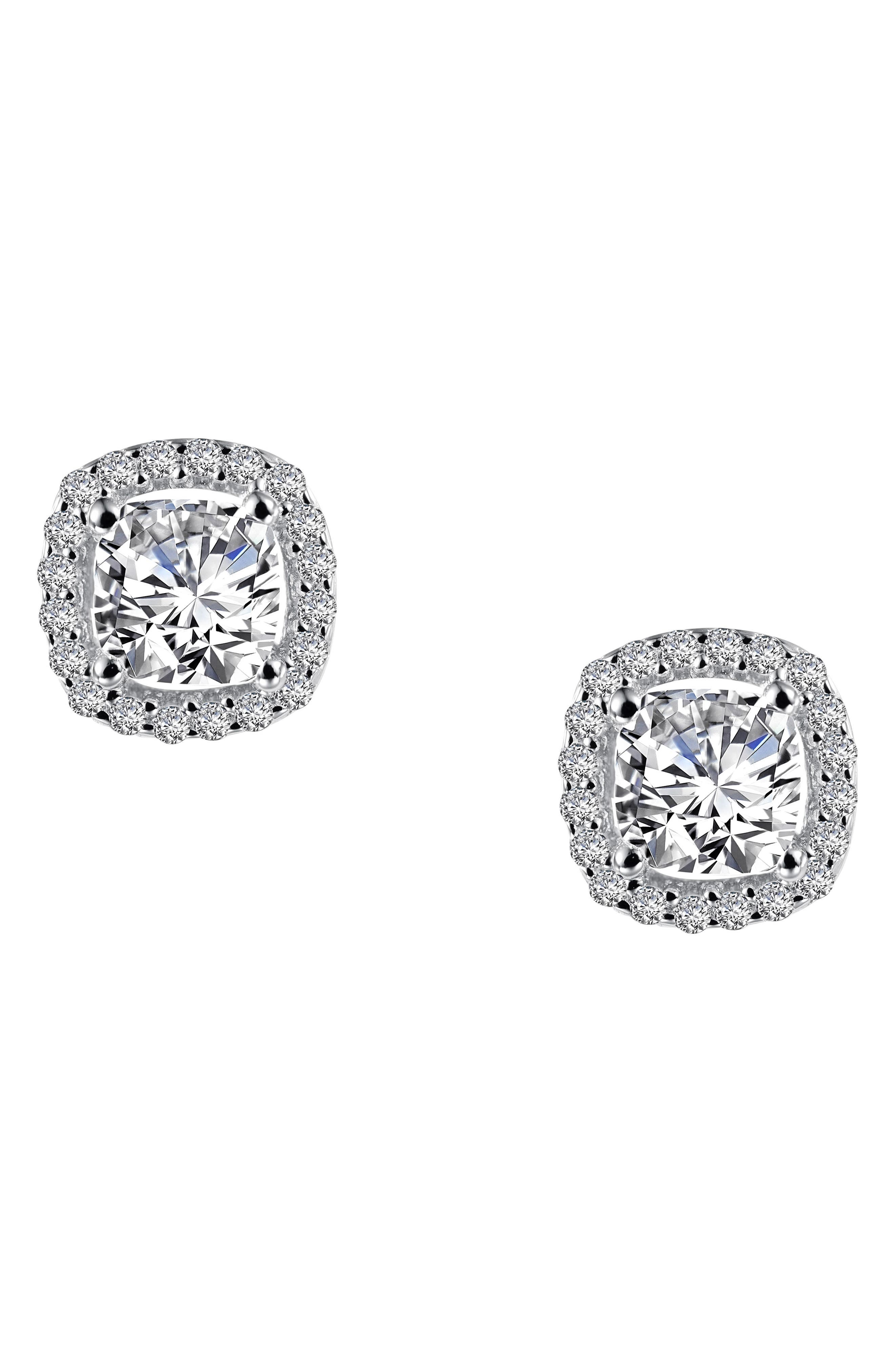 Cushion Cut Simulated Diamond Stud Earrings,                             Alternate thumbnail 3, color,                             Silver/ Clear
