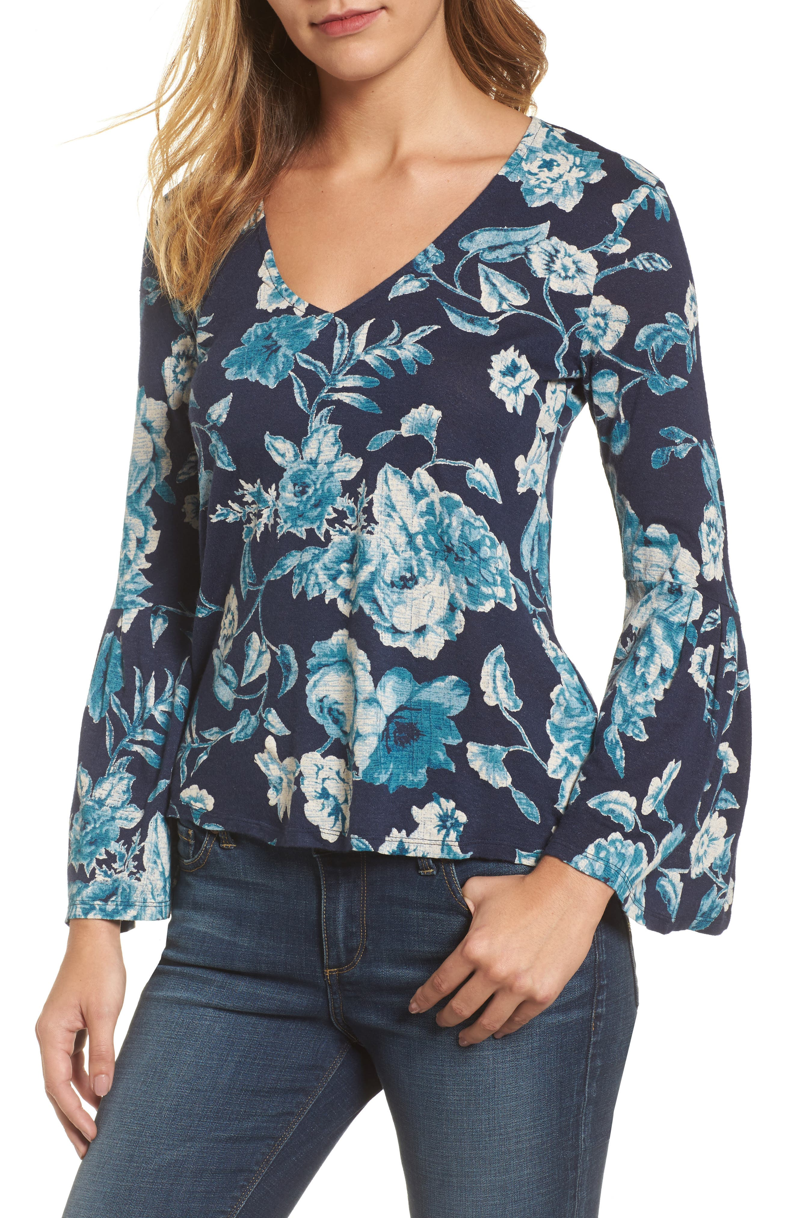 Alternate Image 1 Selected - Lucky Brand Encinitas Bell Sleeve Top