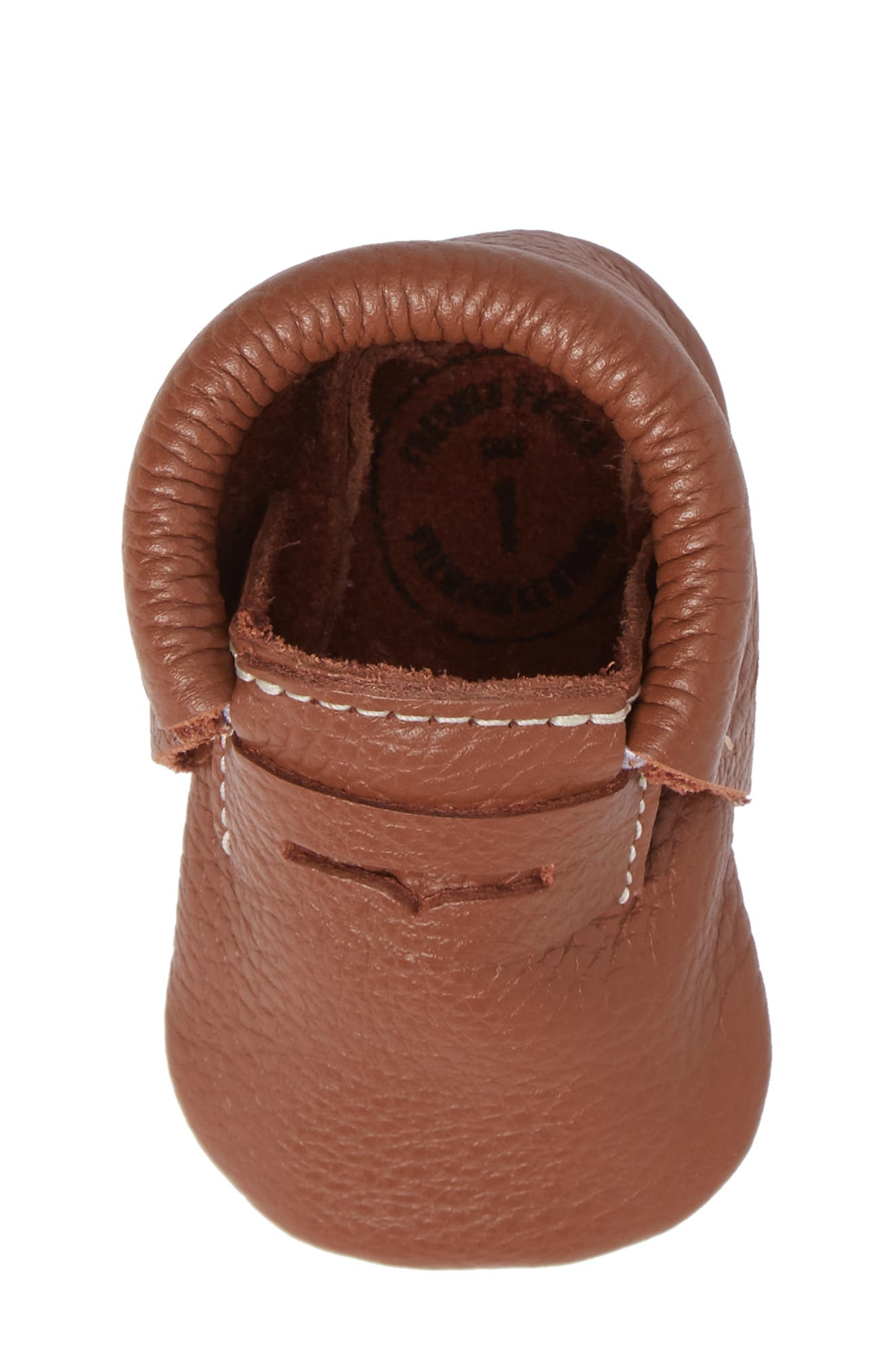 Penny Loafer Crib Shoe,                             Alternate thumbnail 5, color,                             Cognac