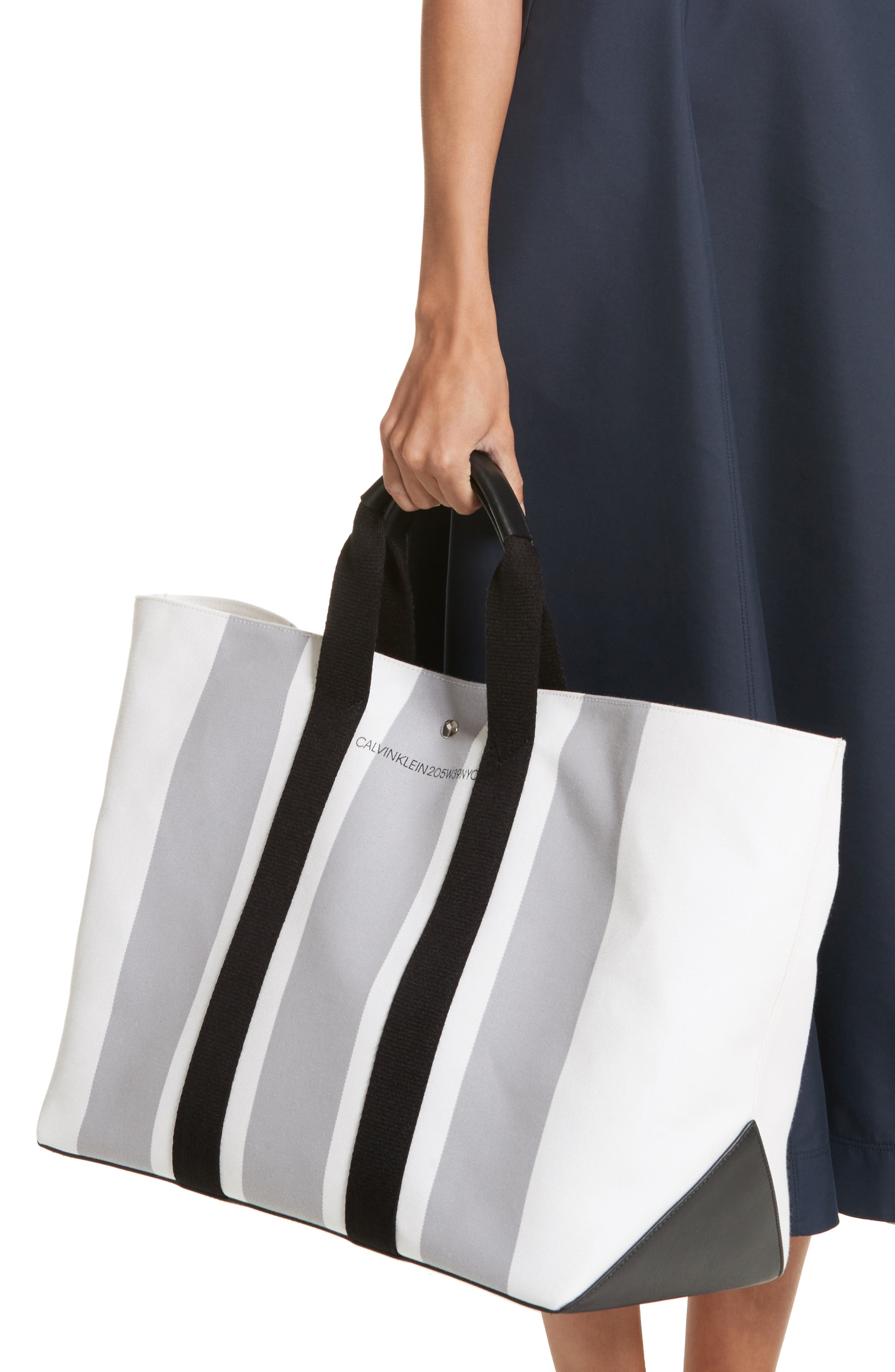 Stripe Canvas Tote,                             Alternate thumbnail 2, color,                             White/ Grey/ Black