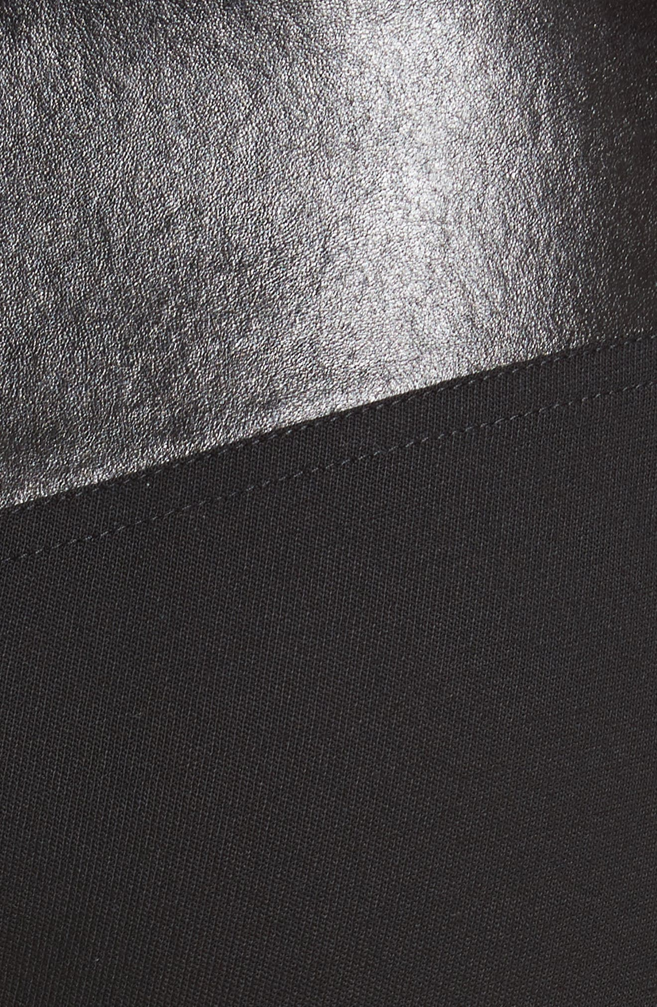 Textured Suiting & Leather Garter Flare Pants,                             Alternate thumbnail 5, color,                             Black