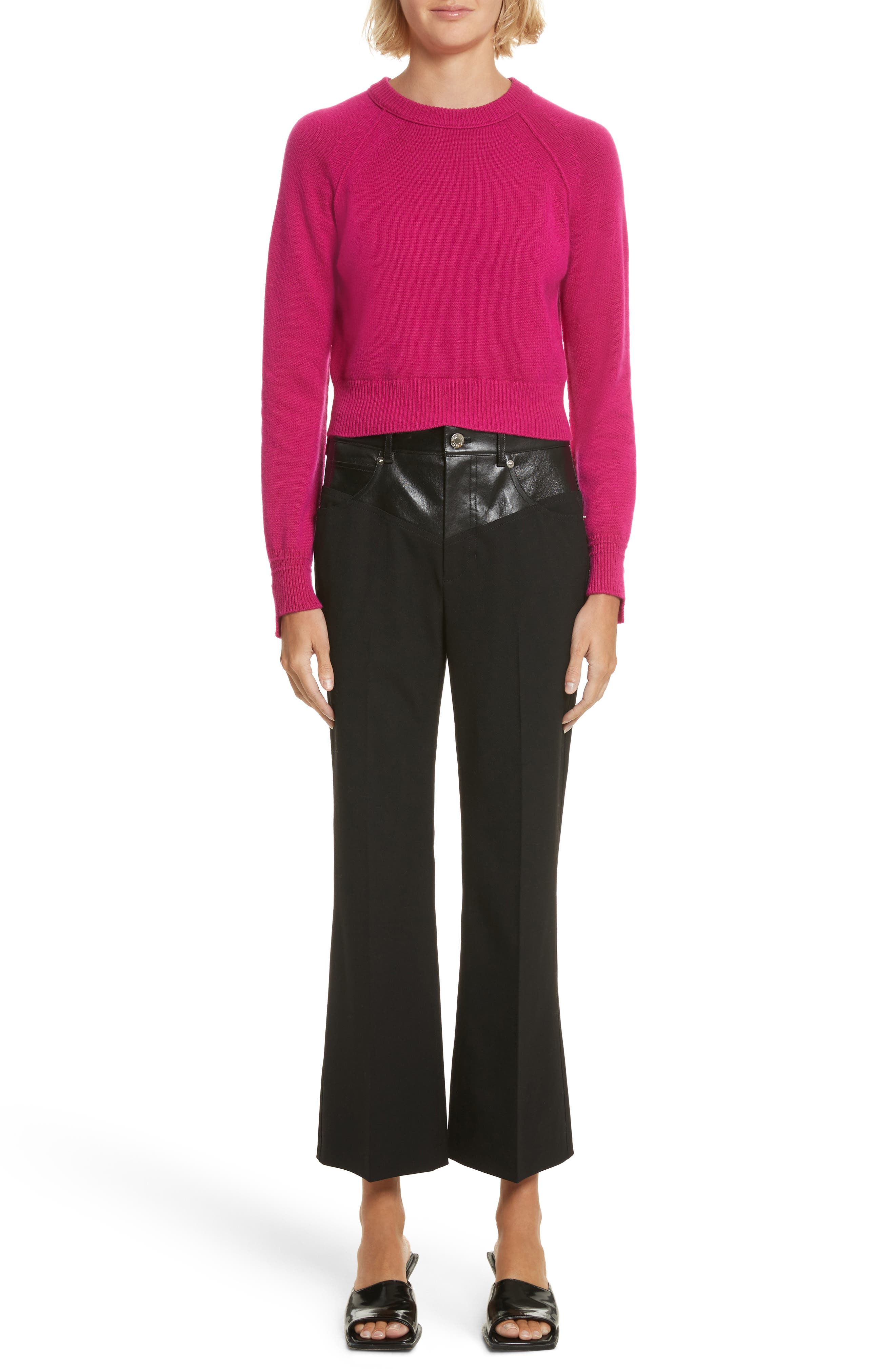Textured Suiting & Leather Garter Flare Pants,                             Alternate thumbnail 6, color,                             Black