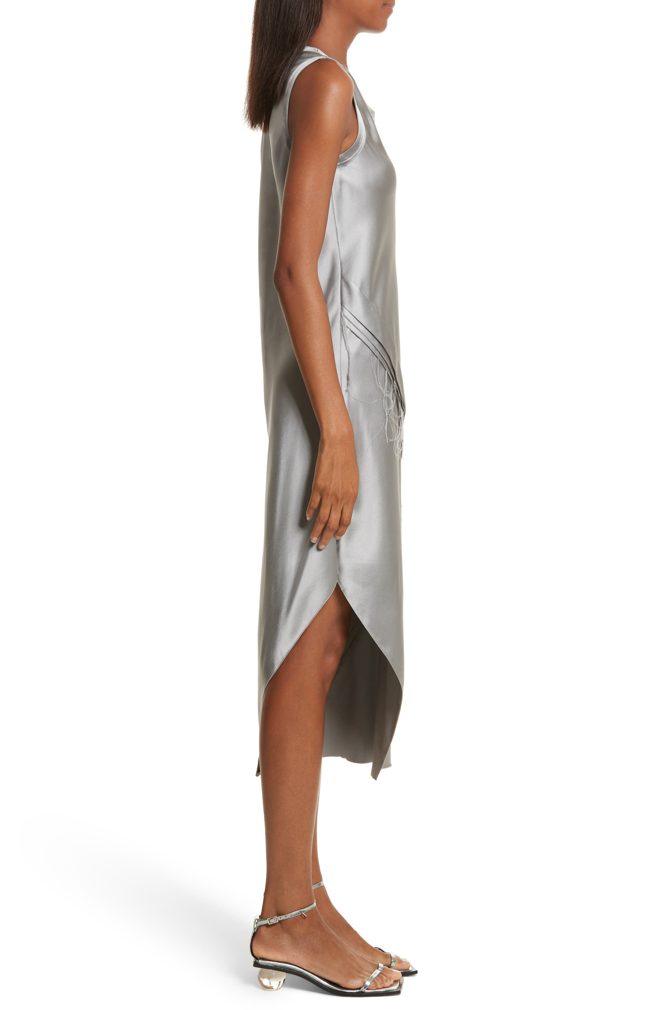 Lacquered Silk Asymmetrical Dress,                             Alternate thumbnail 3, color,                             Grey Pebble