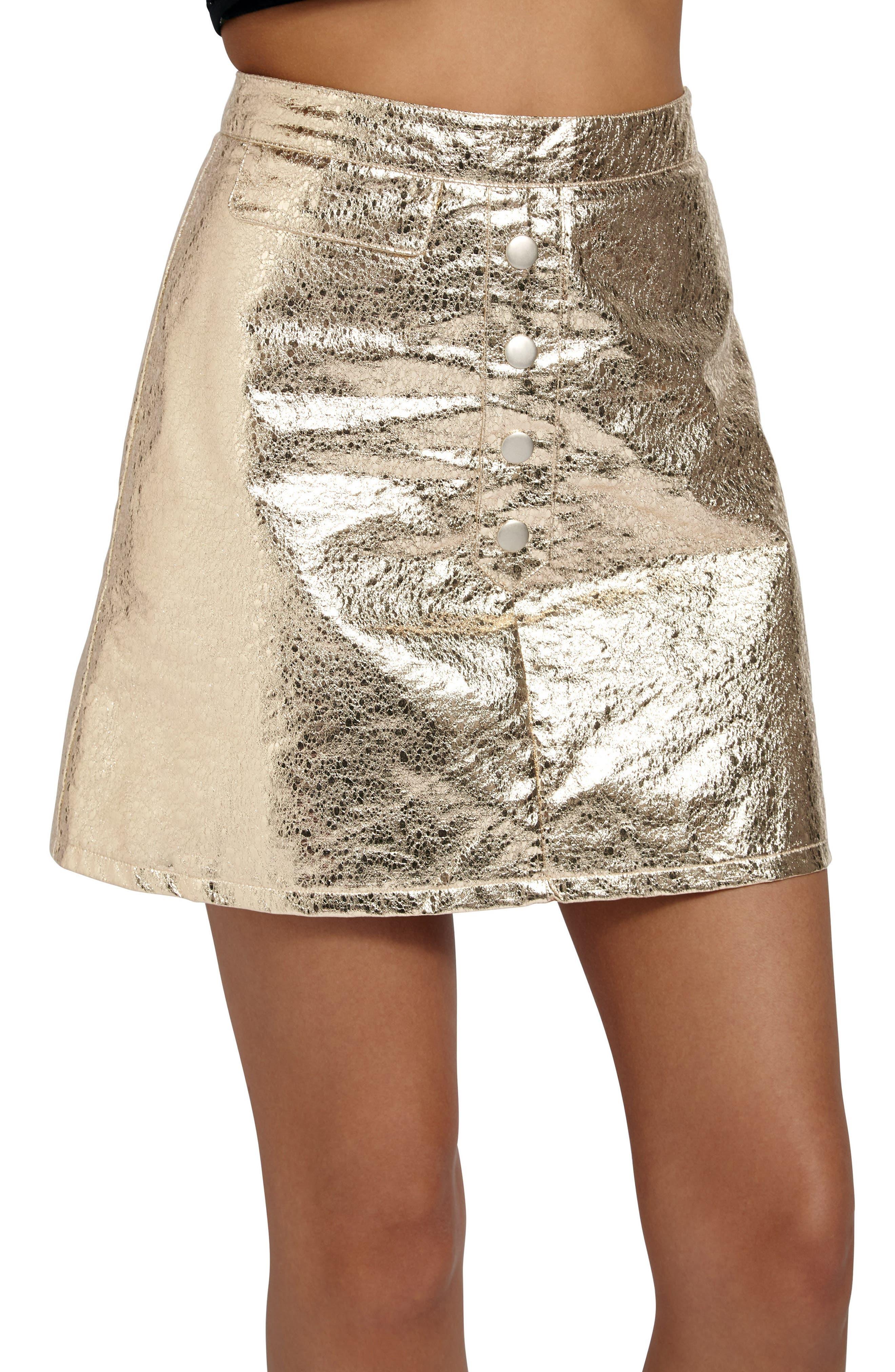 Crackled Metallic Miniskirt,                             Alternate thumbnail 4, color,                             Gold