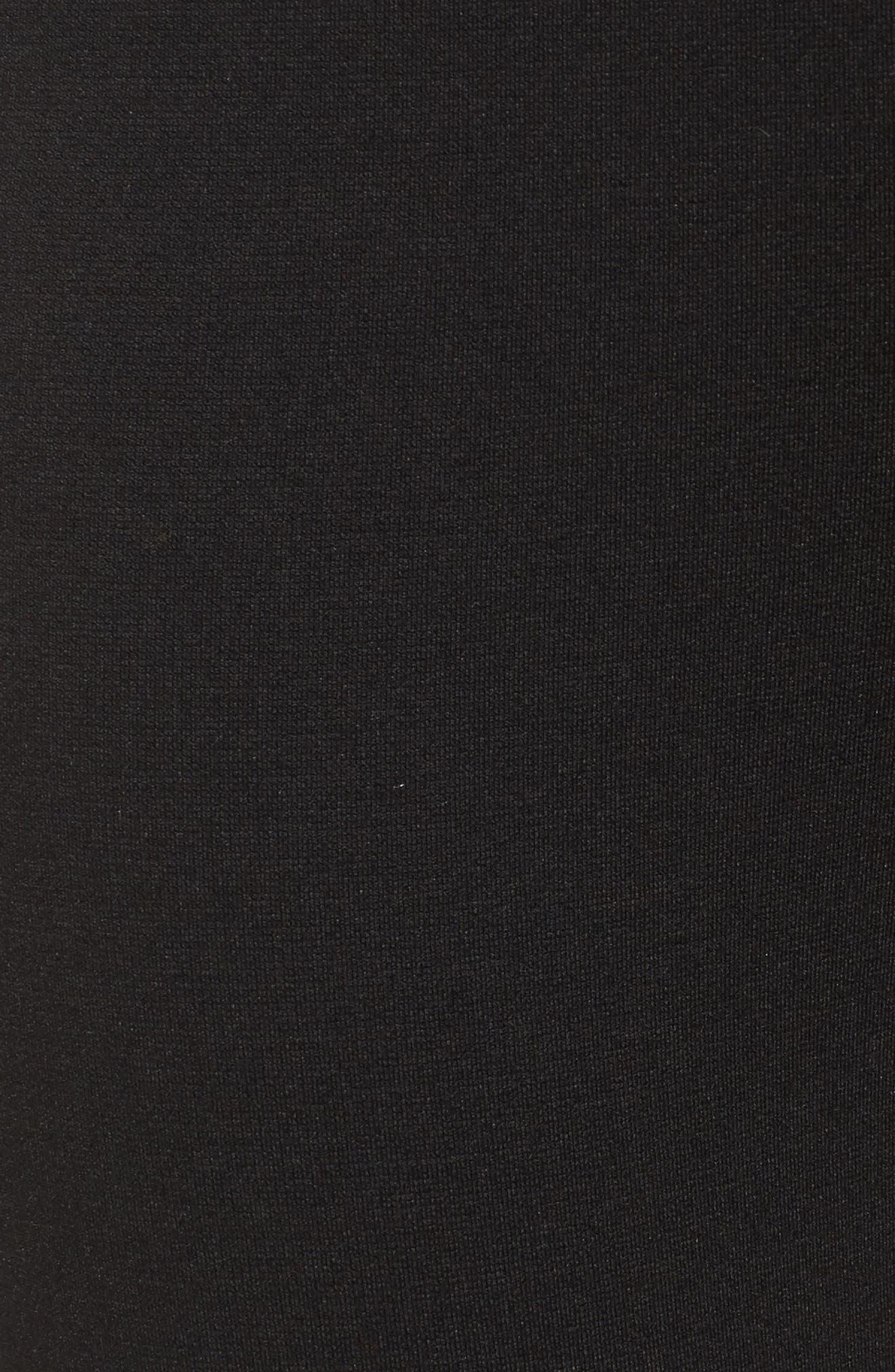 Zip Ankle Ponte Knit Leggings,                             Alternate thumbnail 5, color,                             Rich Black