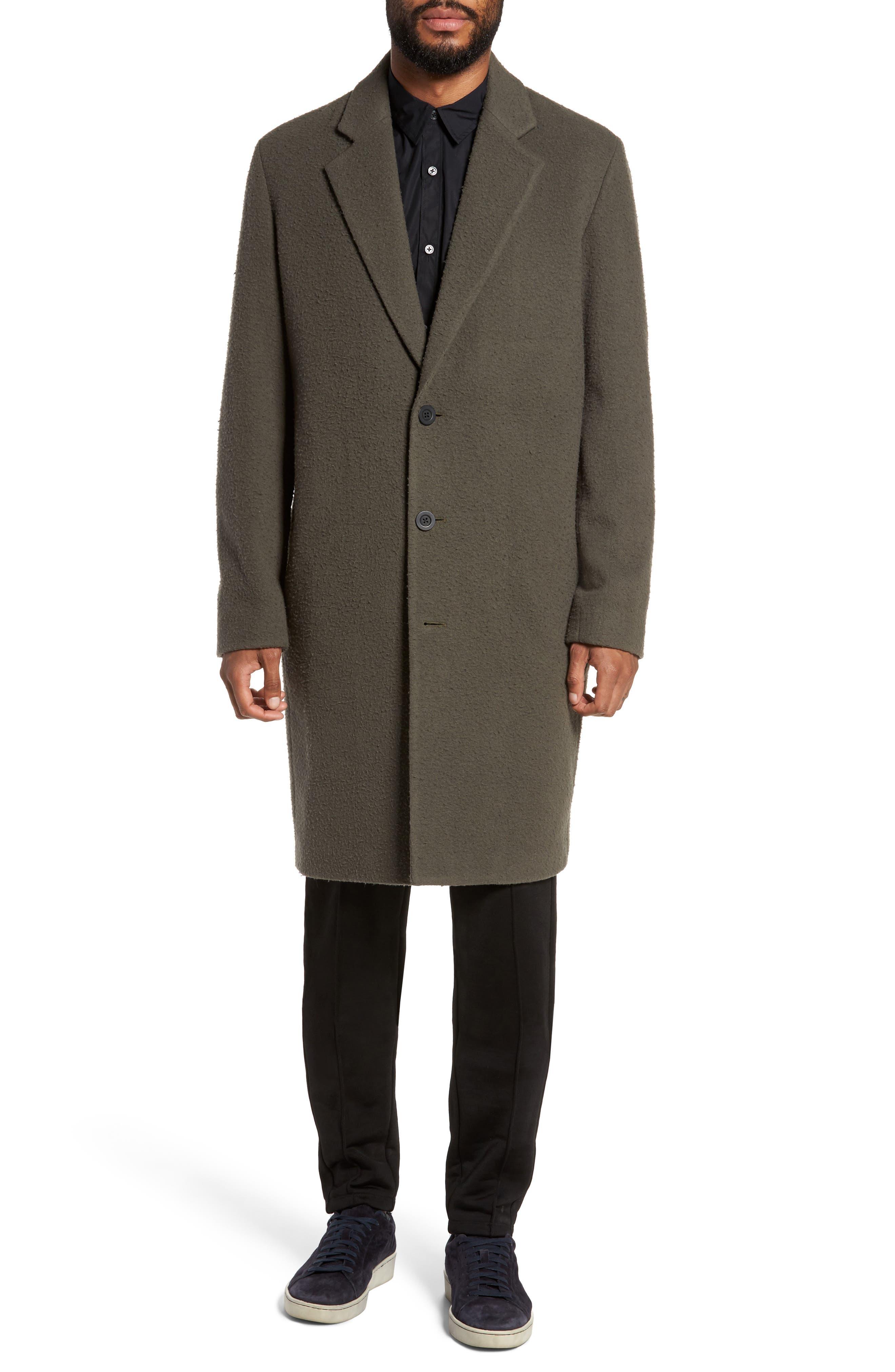 Distressed Wool Blend Car Coat,                             Alternate thumbnail 4, color,                             Olive