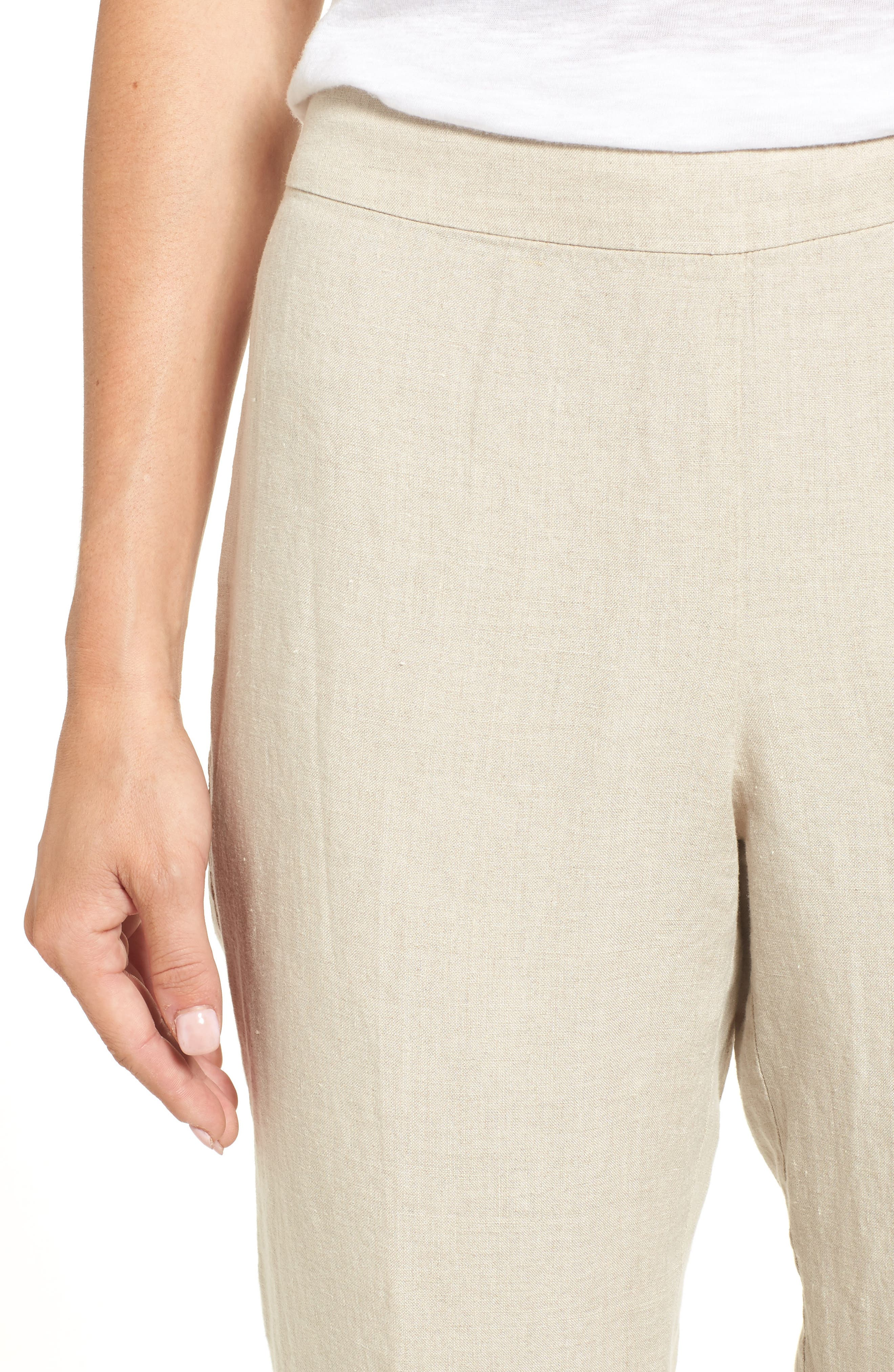 Organic Linen Crop Pants,                             Alternate thumbnail 4, color,                             Unnatural