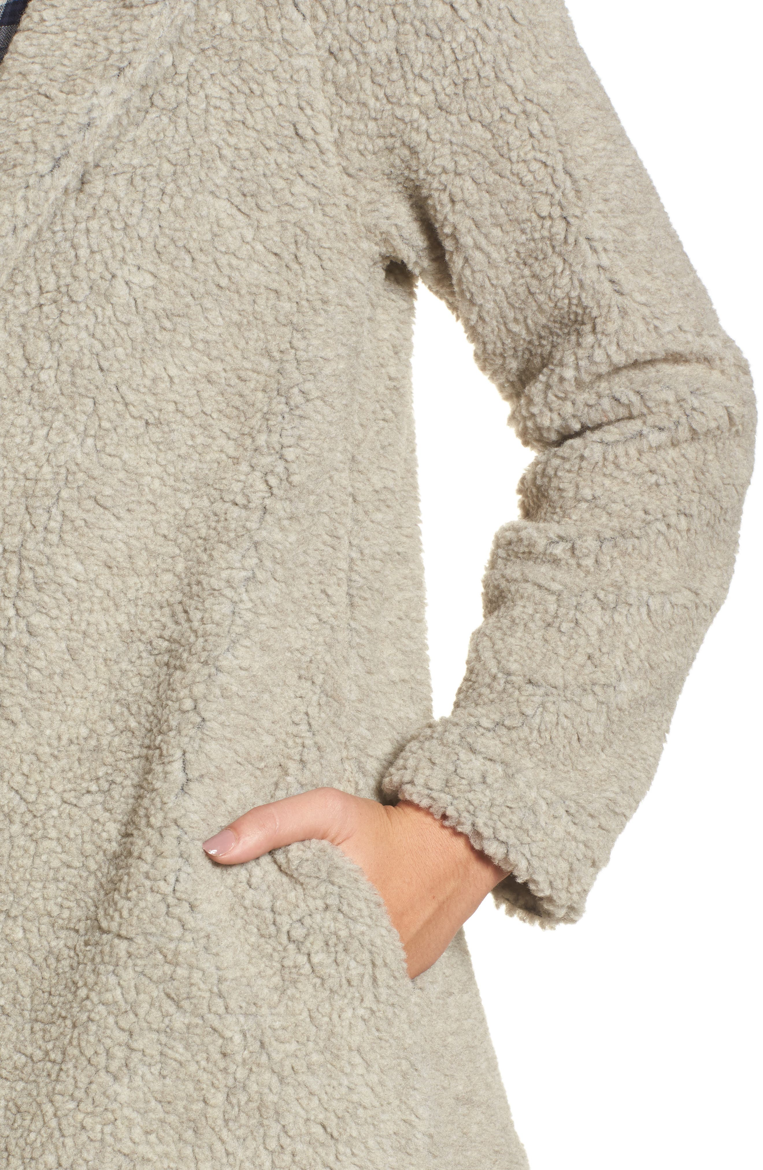 Hooded Faux Fur Jacket,                             Alternate thumbnail 4, color,                             Oatmeal
