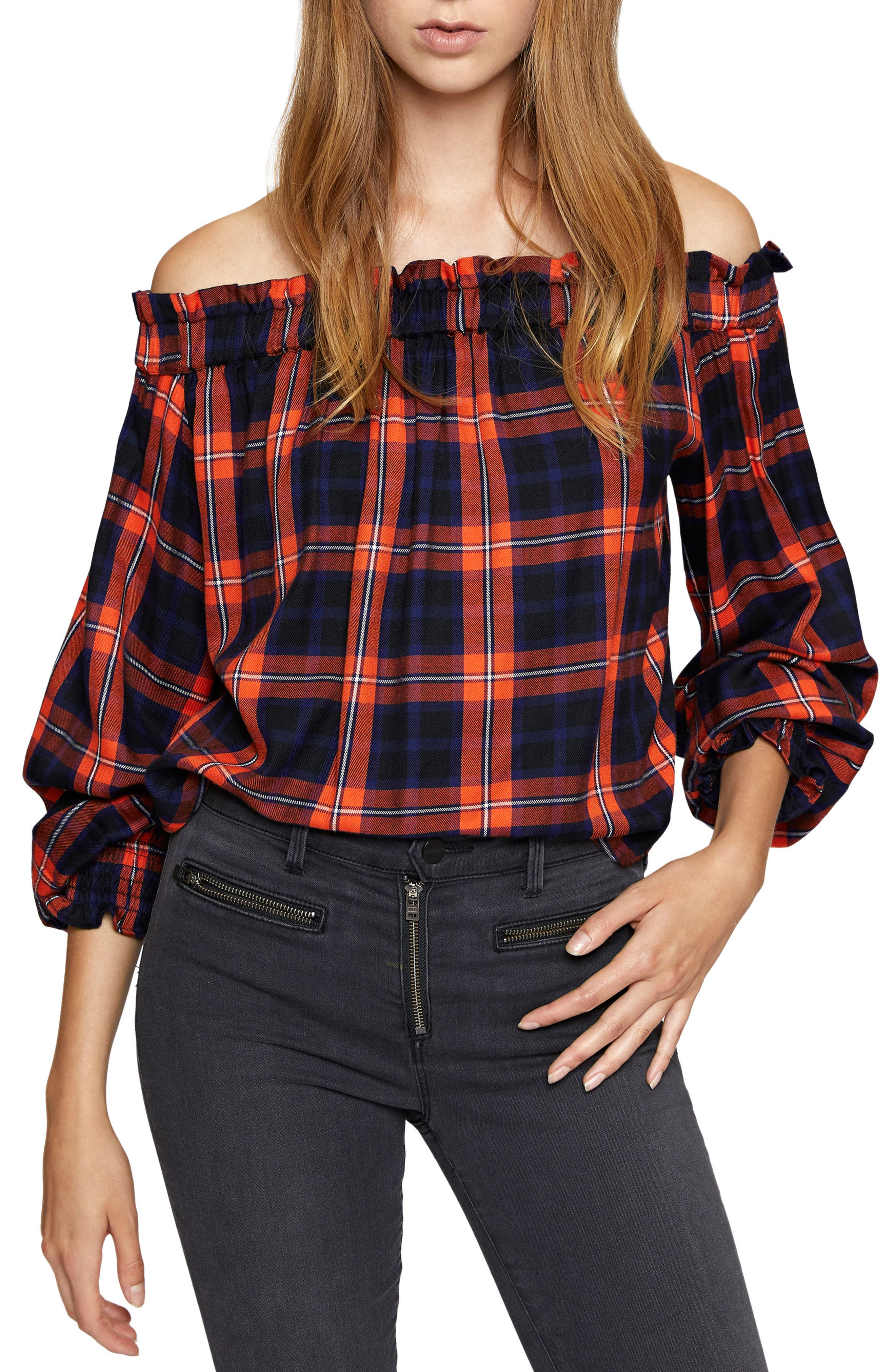 Off the Shoulder Top,                             Main thumbnail 1, color,                             Lacquer Plaid