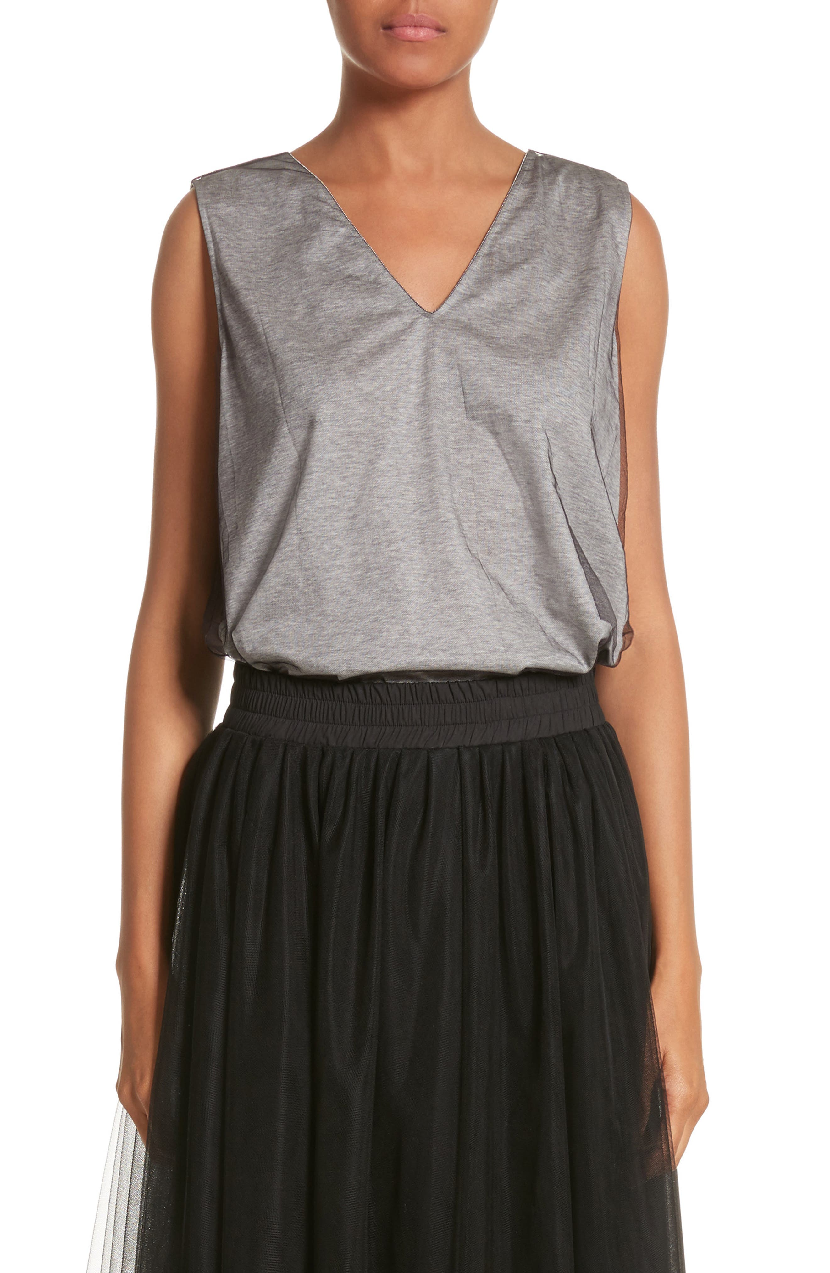 Tulle Overlay Jersey Tank,                             Main thumbnail 1, color,                             Grey