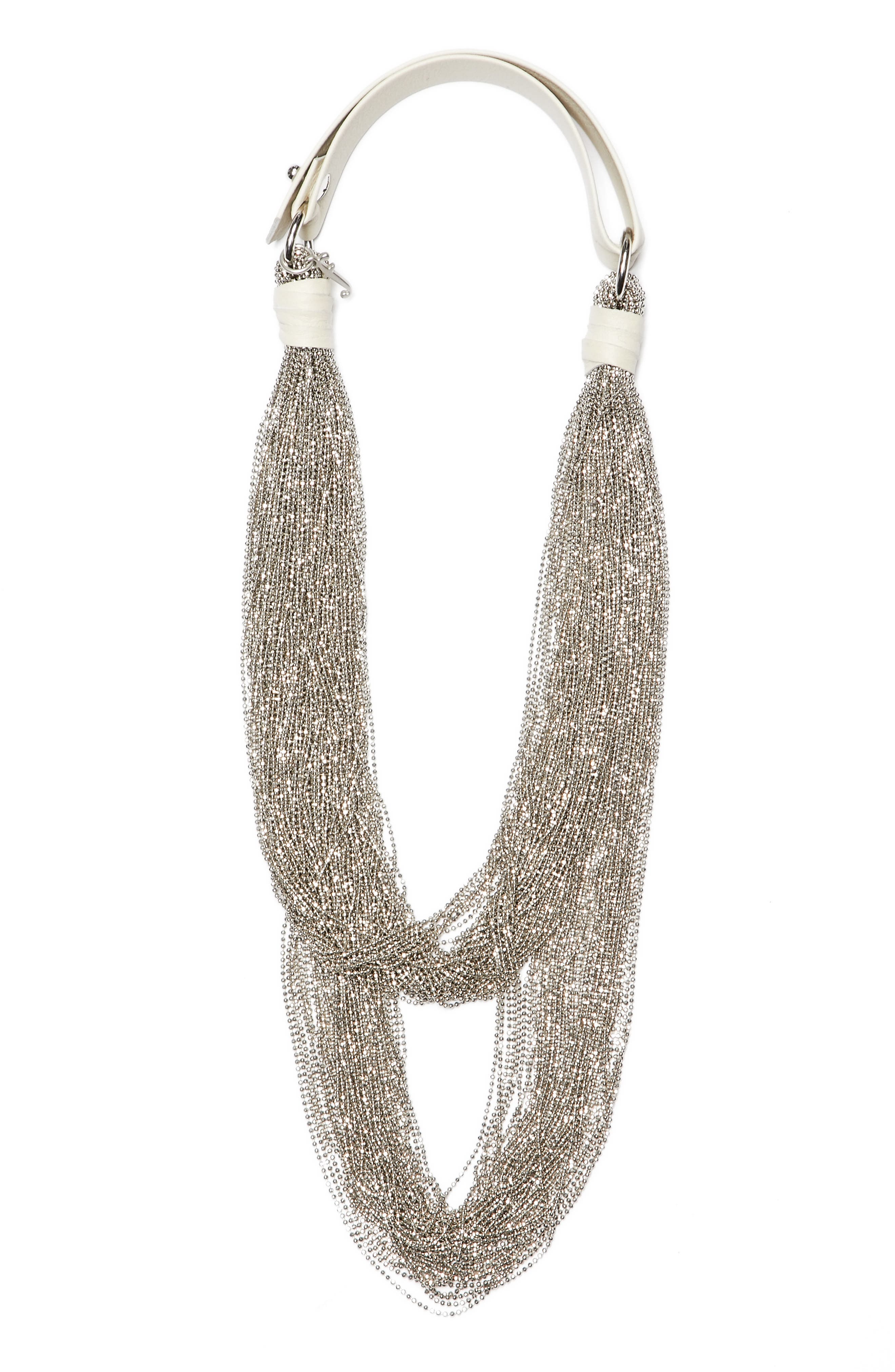 Tiered Multstrand Necklace,                         Main,                         color, Silver