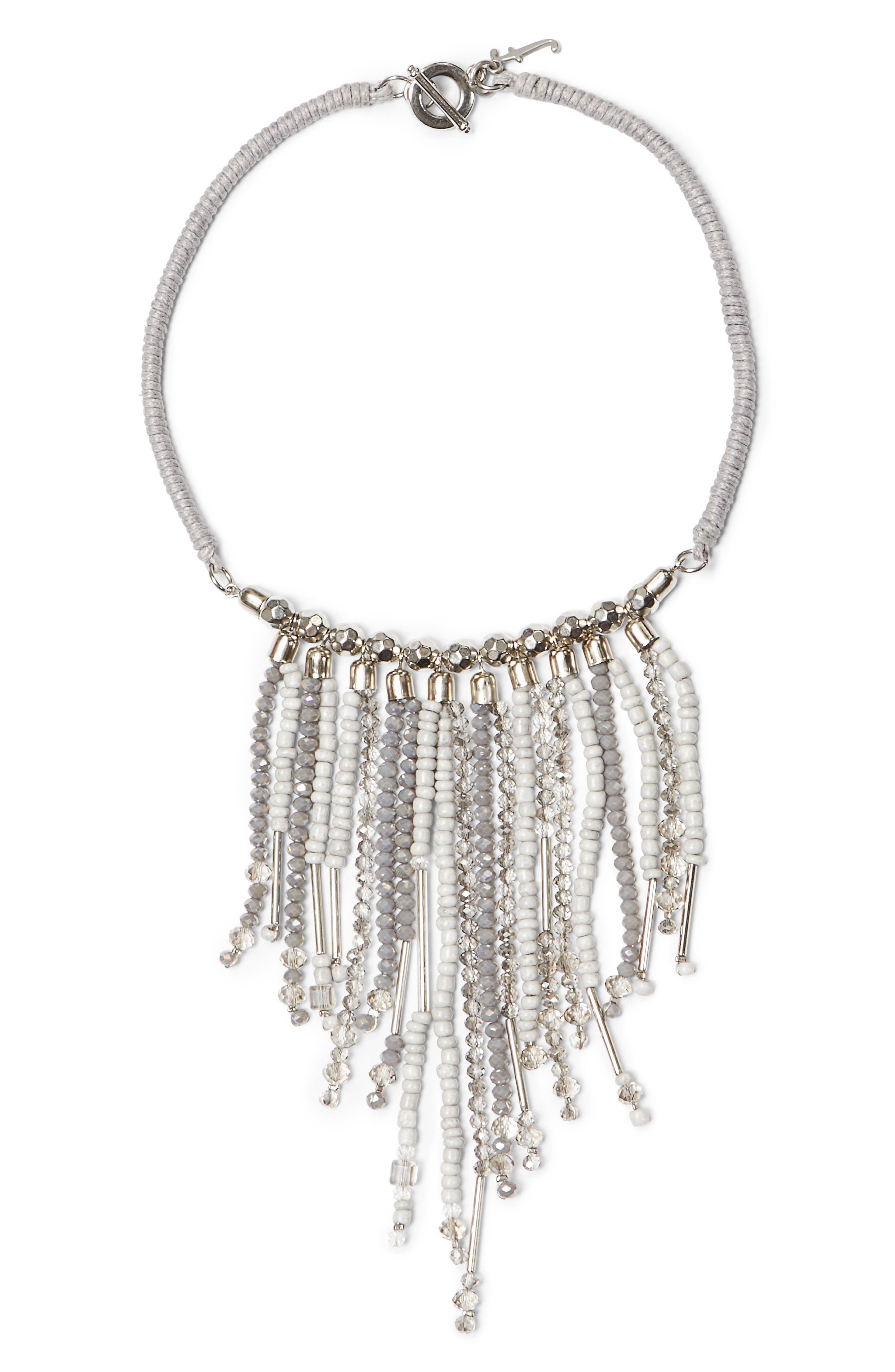 Beaded Fringe Necklace,                         Main,                         color, Silver Grey Multi