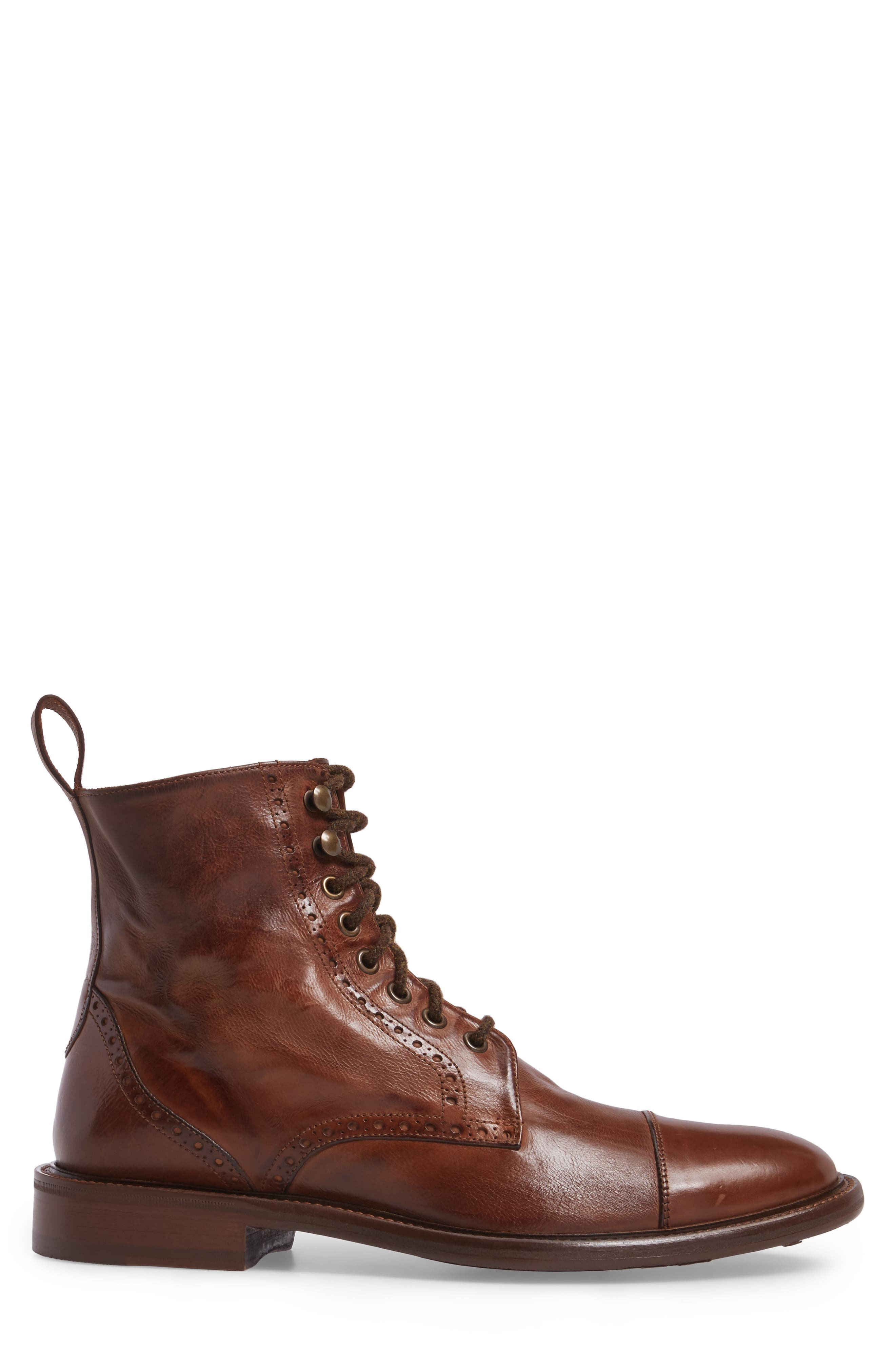Bryson Cap Toe Boot,                             Alternate thumbnail 3, color,                             Mahogany Leather