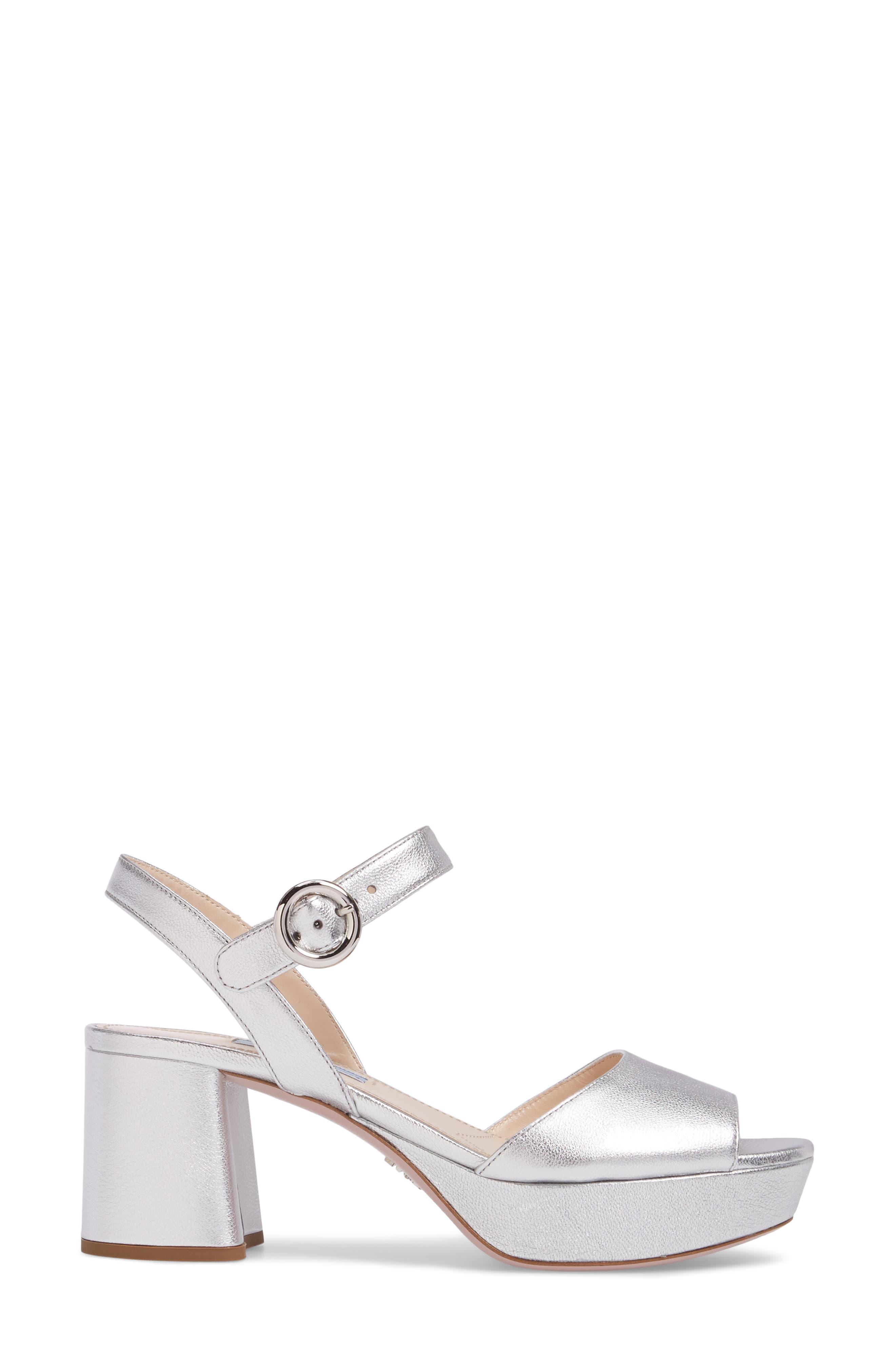 Ankle Strap Platform Sandal,                             Alternate thumbnail 3, color,                             Silver