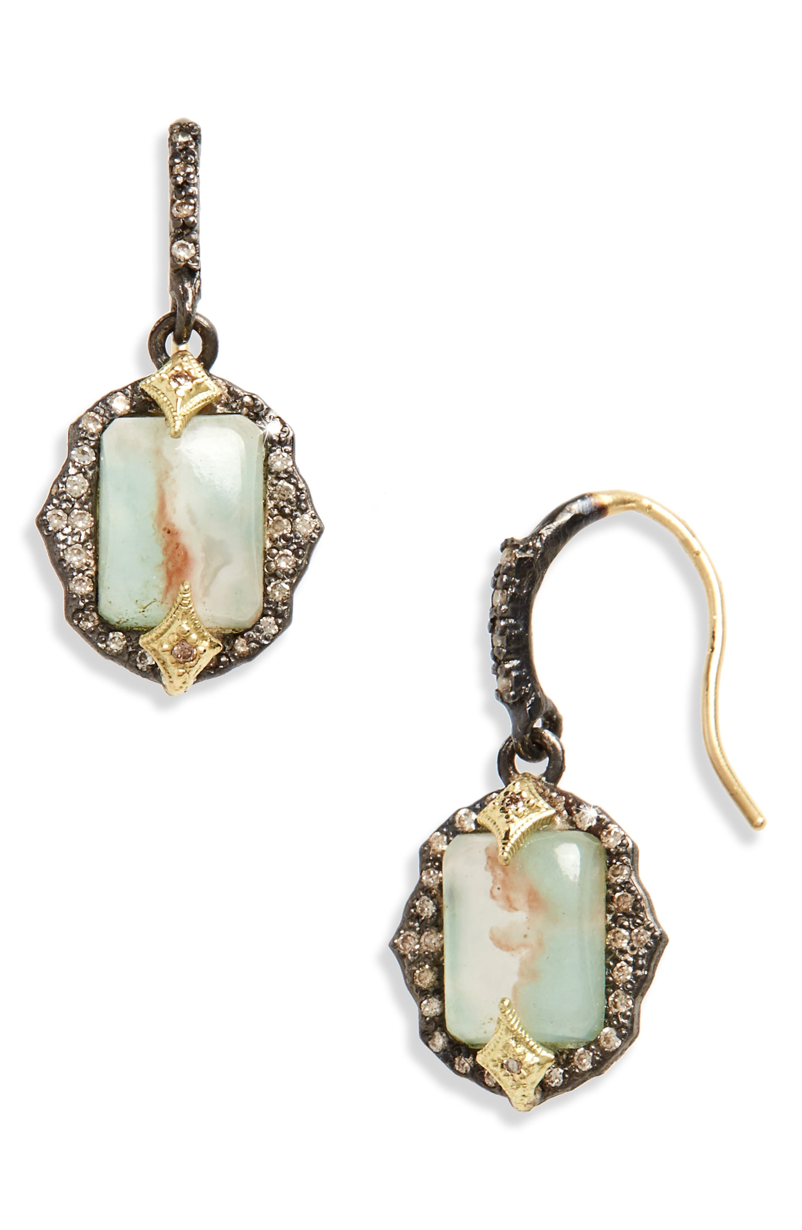 Old World Emerald Cut Drop Earrings,                         Main,                         color, Silver