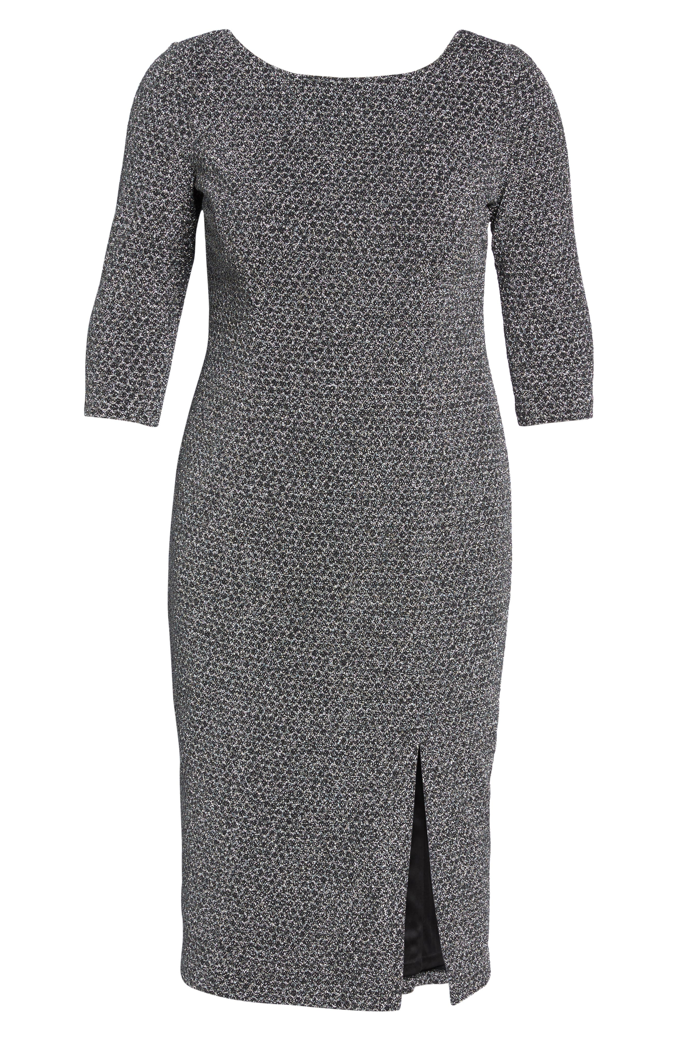 Glitter Knit Sheath Dress,                             Alternate thumbnail 7, color,                             Gunmetal/ Black