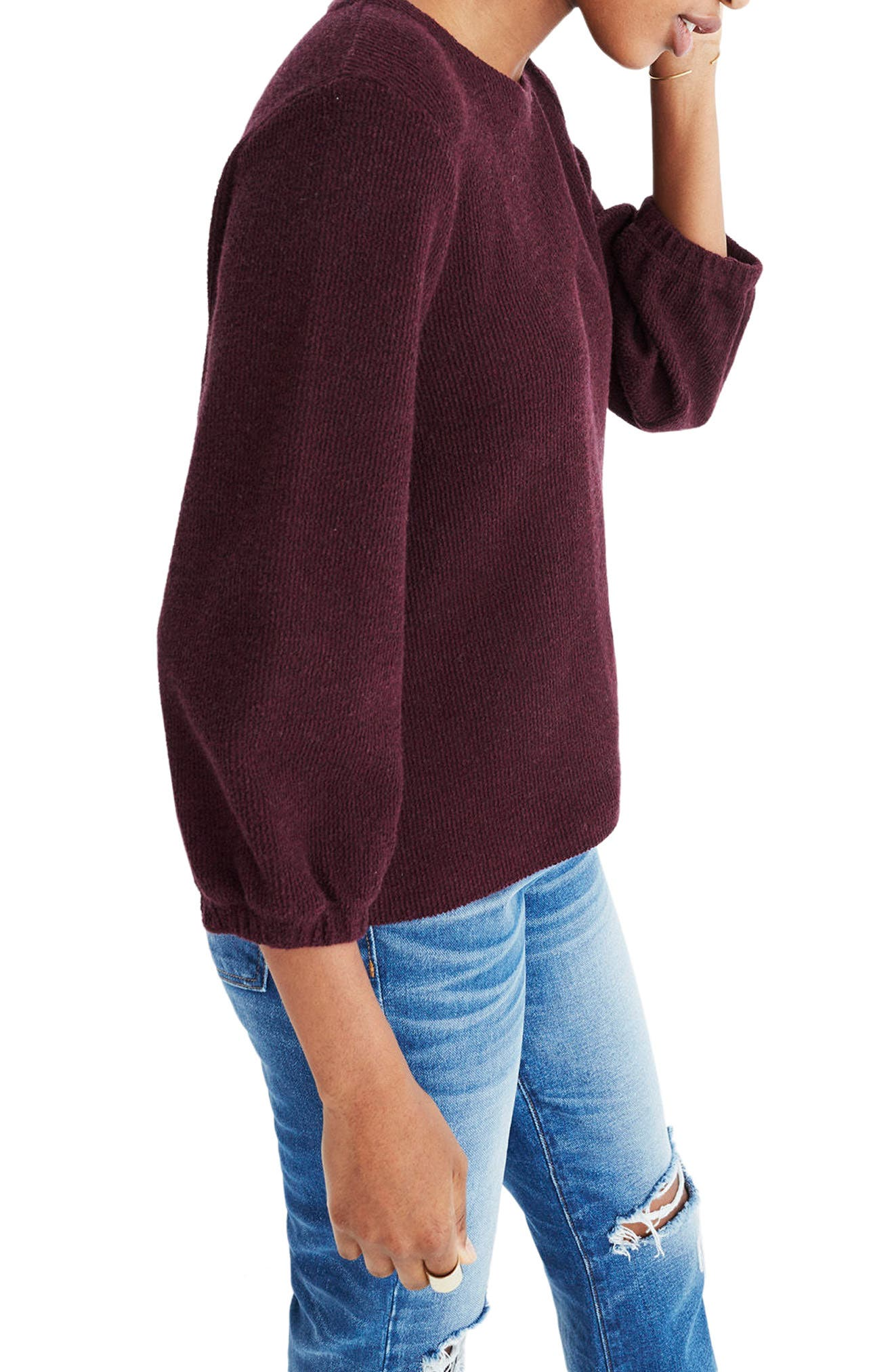 Shirred Sleeve Sweater,                         Main,                         color, Heather Maroon