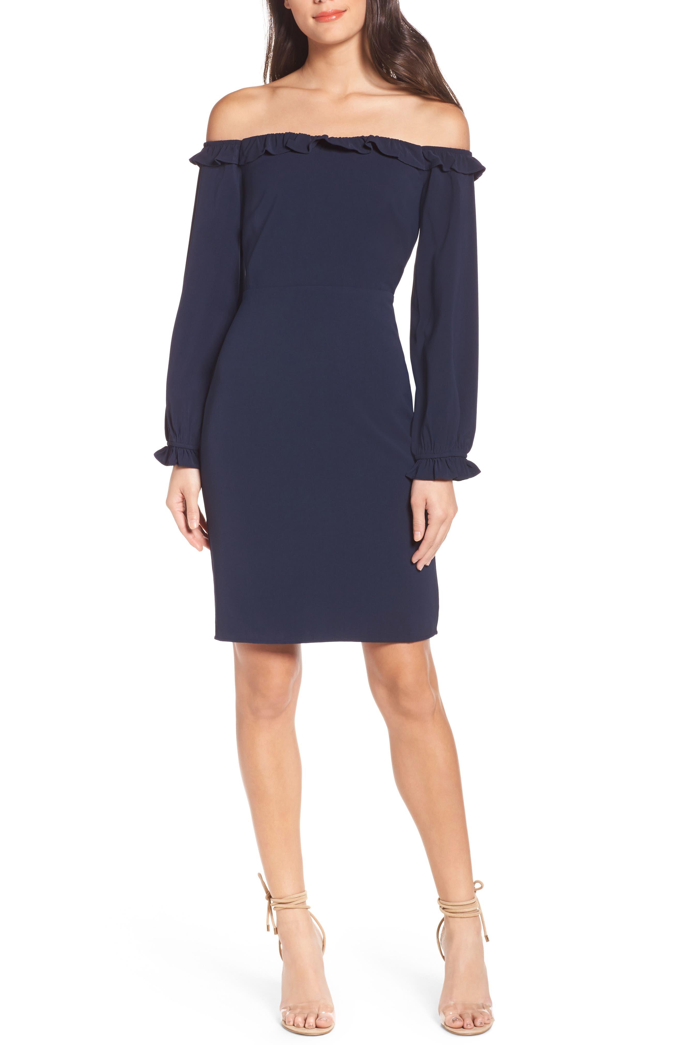Off the Shoulder Sheath Dress,                         Main,                         color, Navy Sapphire