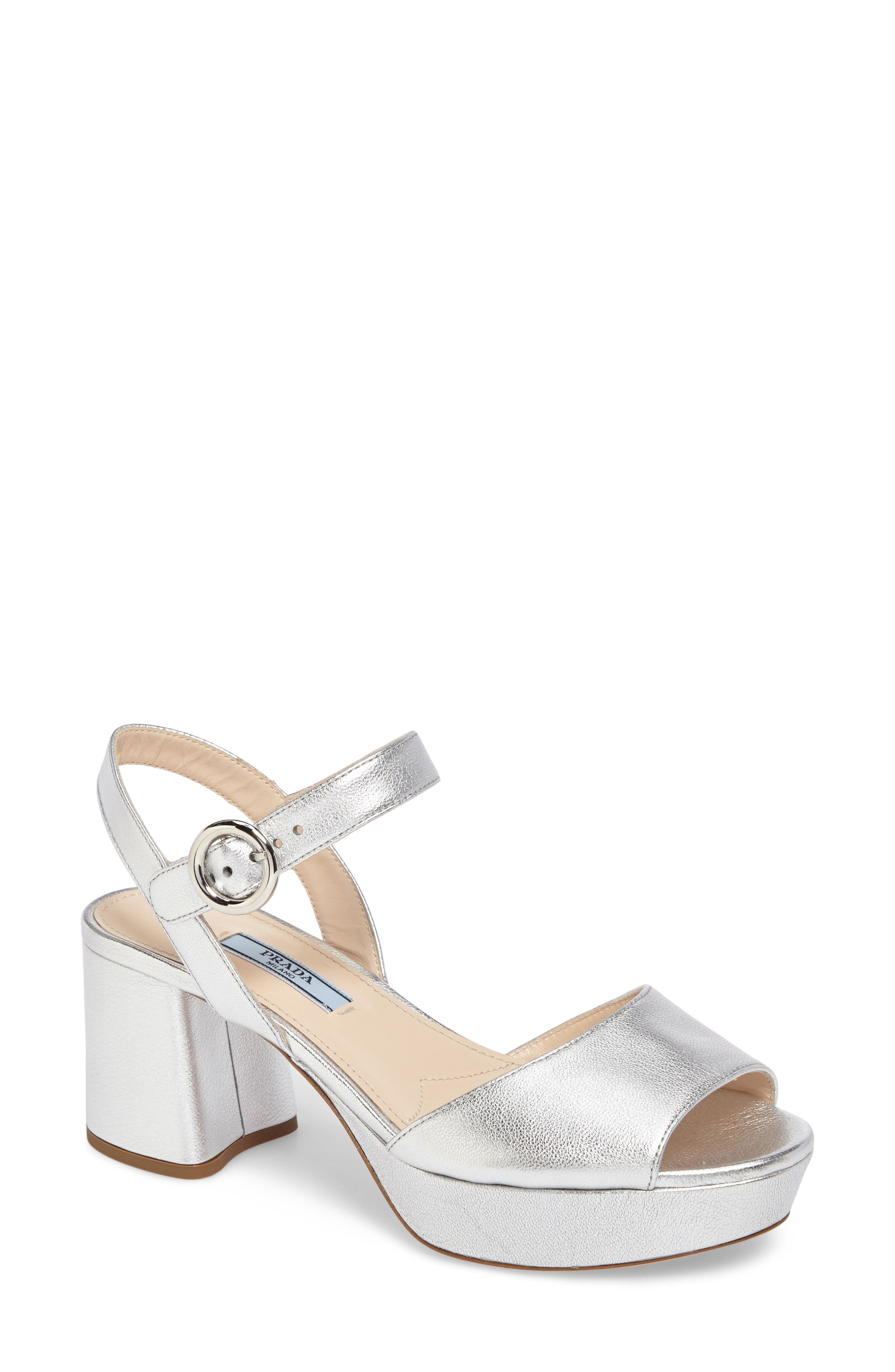 Ankle Strap Platform Sandal,                         Main,                         color, Silver