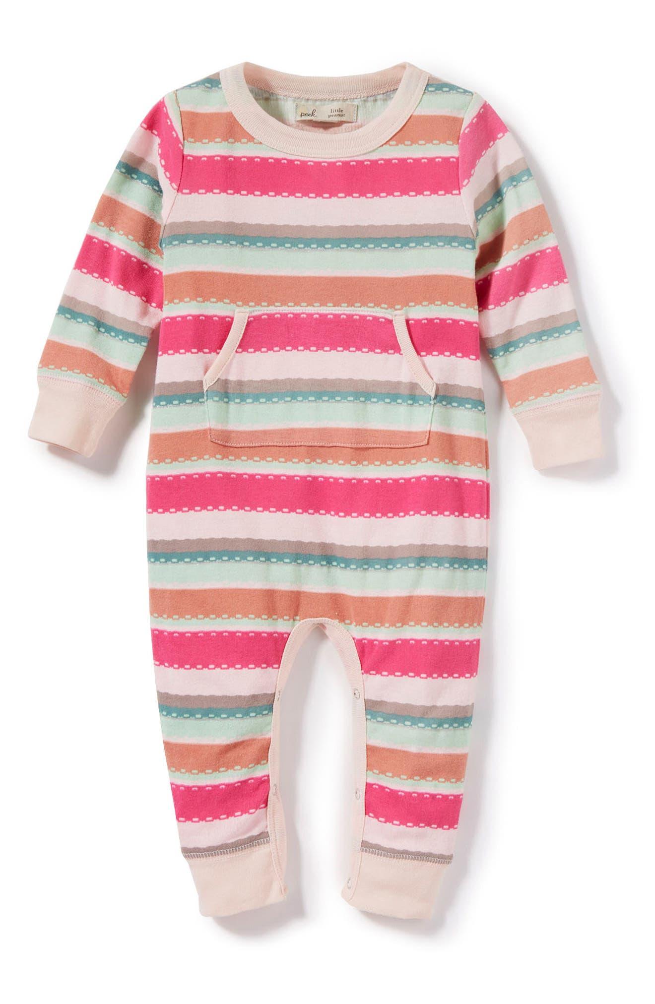 Main Image - Peek Stripe Romper (Baby Girls)