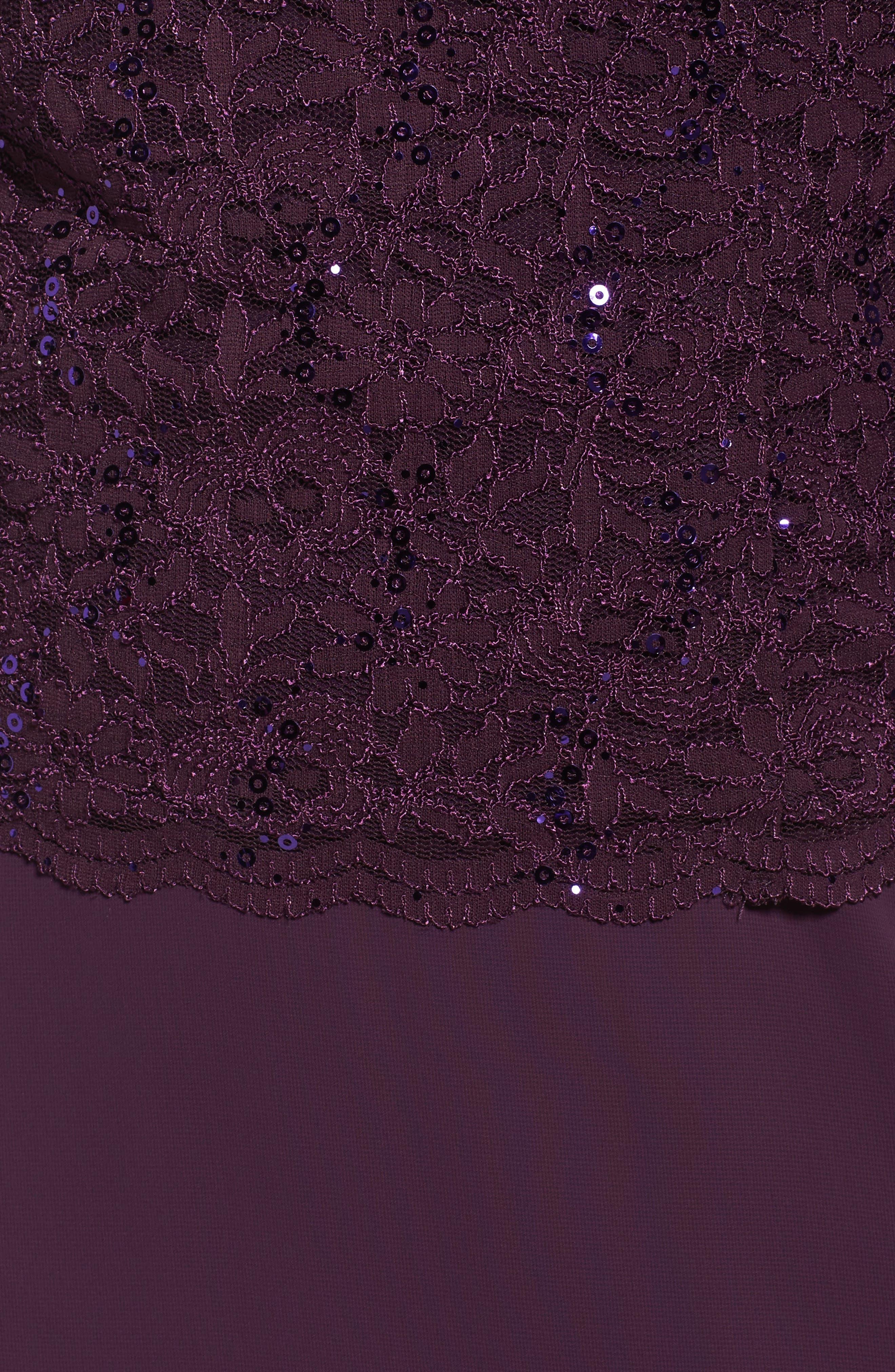 Alternate Image 5  - Alex Evenings Embellished Lace & Chiffon Gown (Plus Size)